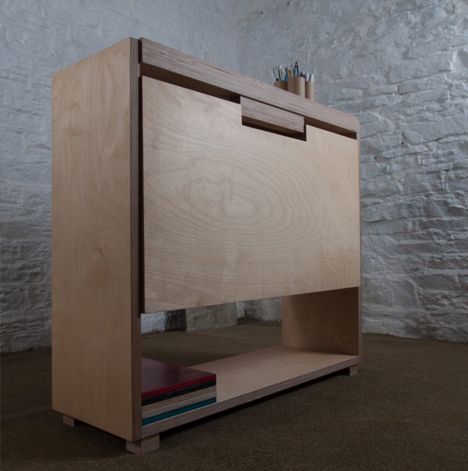 Drop Leaf Desk Small Side Table Converts Into Work
