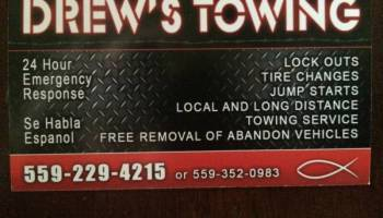 NEED A TOW? LOCKED YOUR KEYS IN YOUR CAR? CALL DREWS TOWING