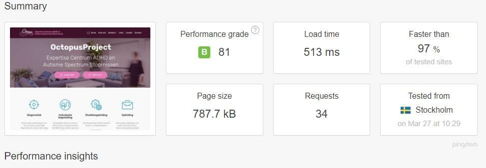 gloednieuwe, supersnelle (Pingdom speedtest)  html5 responsive website voor Octopus Project