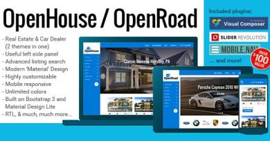 OpenHouse Real Estate and OpenRoad Car Dealer Responsive Material WordPress Theme 3