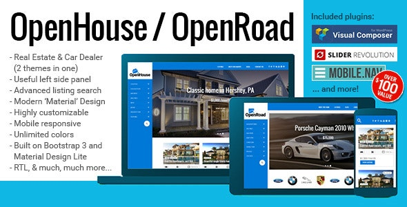 OpenHouse Real Estate and OpenRoad Car Dealer Responsive Material WordPress Theme 1
