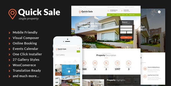 Quick Sale | Single Property Real Estate WordPress Theme 1