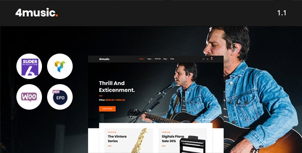 Fourmusic - Musical instruments Shop WooCommerce Theme 3
