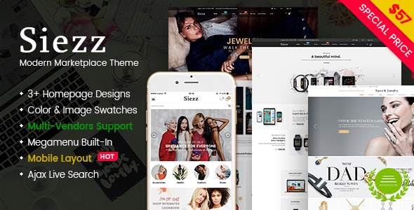 Siezz - Modern Multi Vendor MarketPlace WordPress Theme (Mobile Layout Included) 1