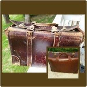 Briefcase before and after leather restoration