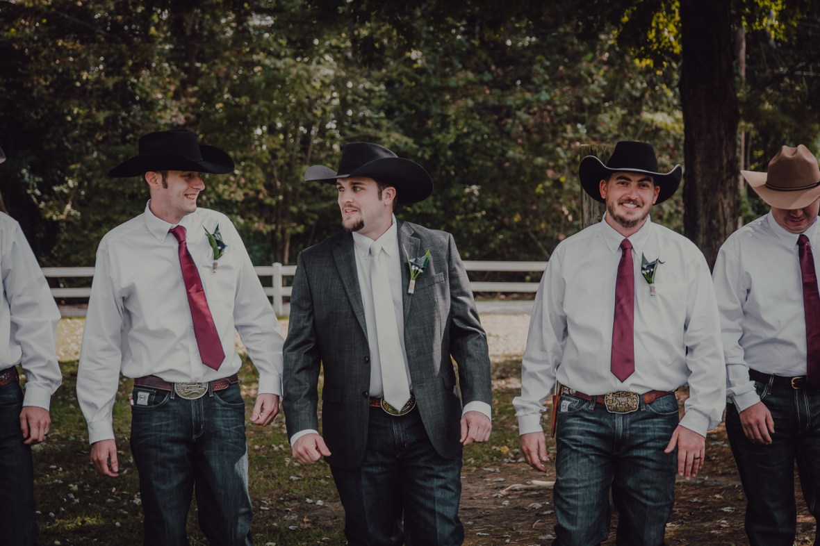 Evansville Indiana Fall Wedding Photography Groom Cowboy Hat
