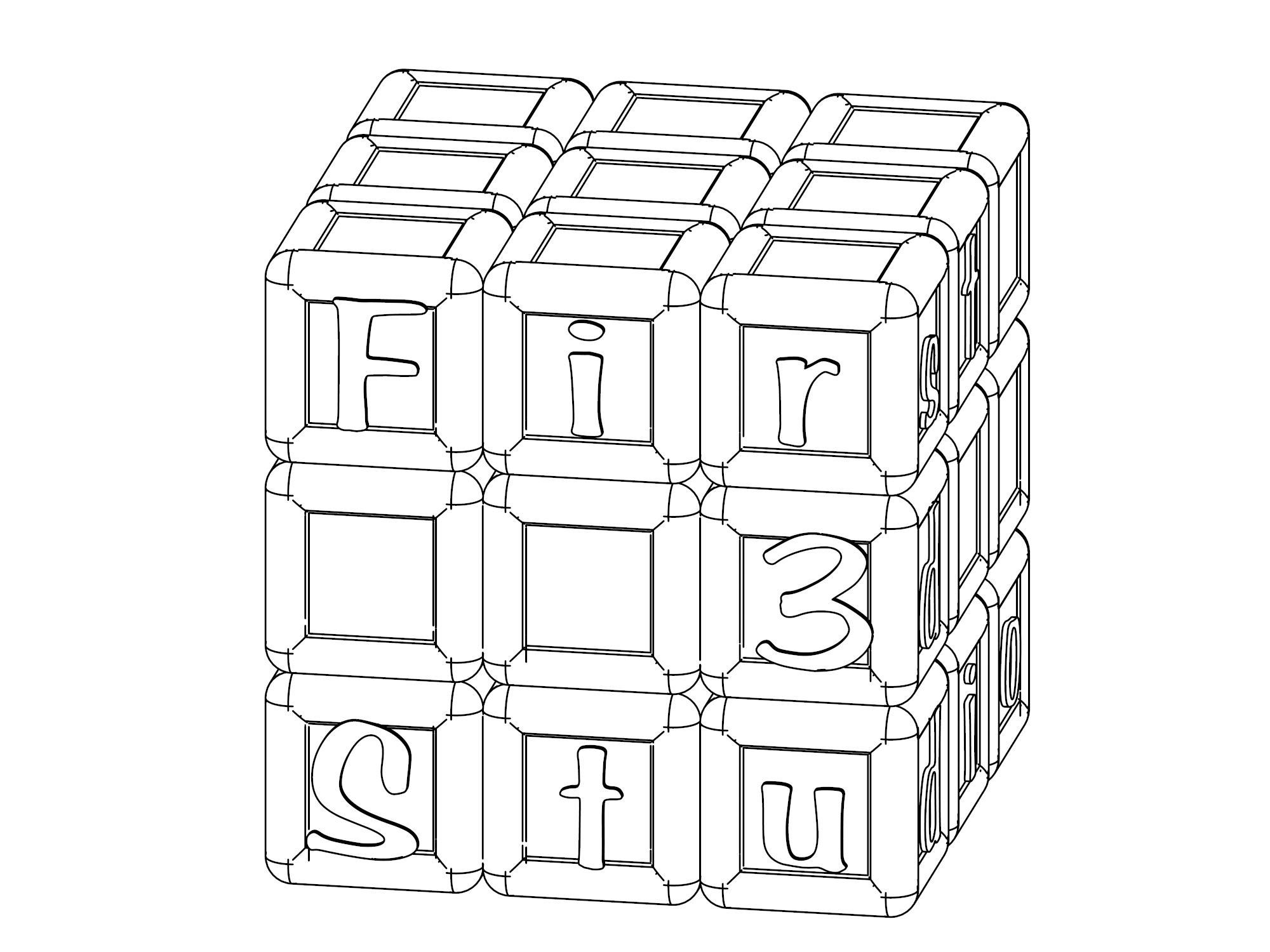 Rubiks Cube Coloring Page Coloring Pages