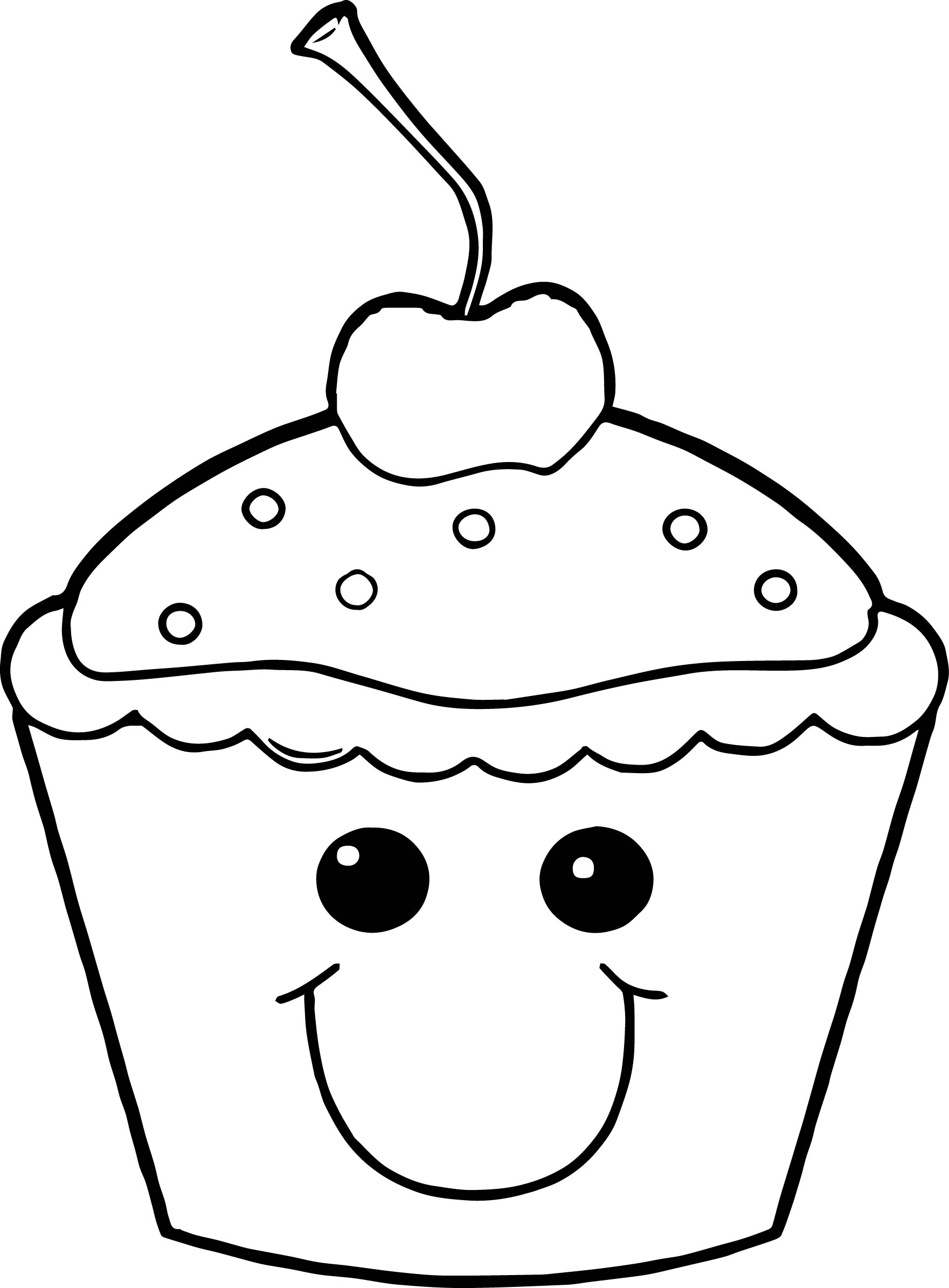 Cartoon Cupcake Coloring Pages Coloring Page