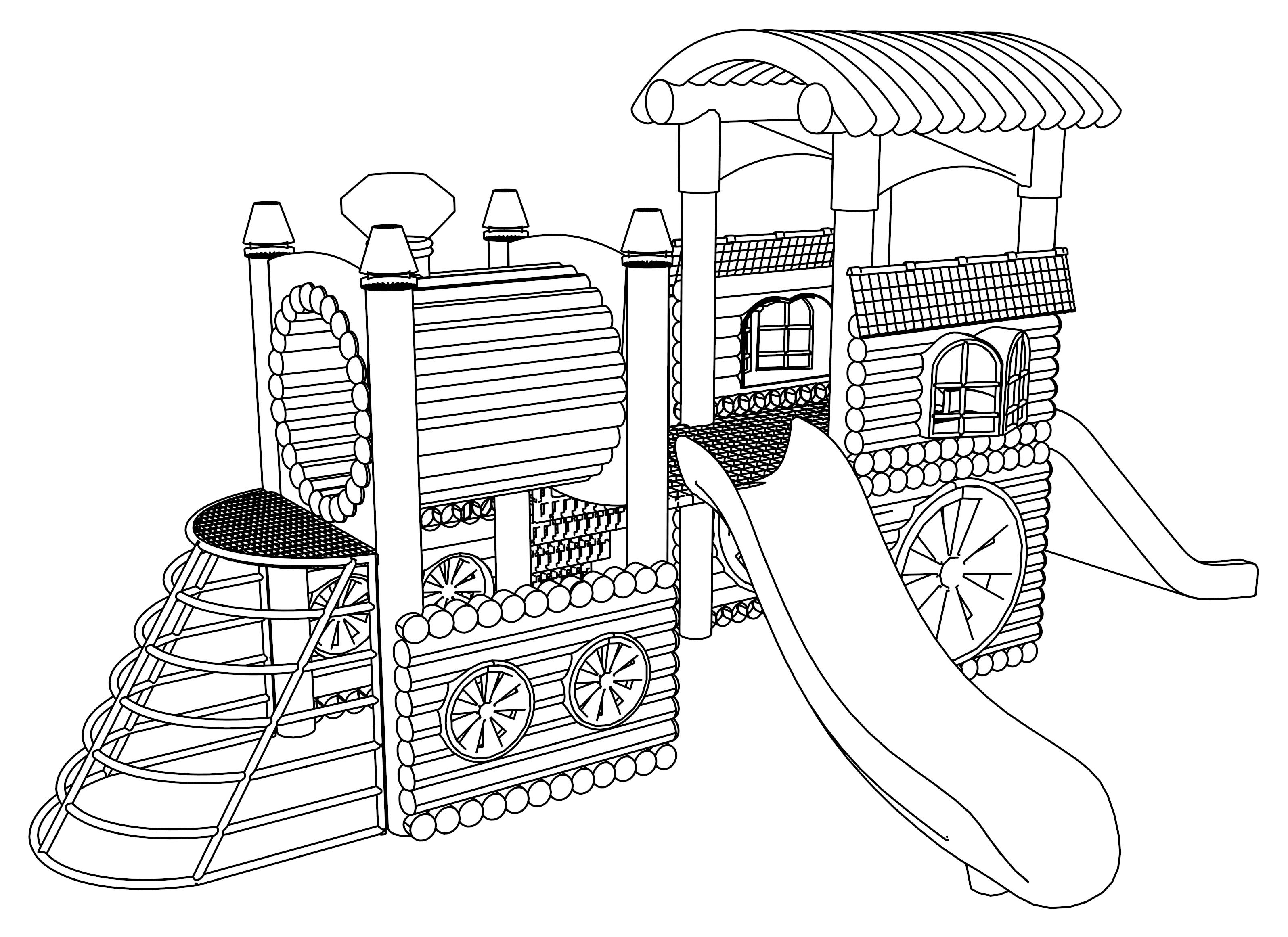 Playground Slide Coloring Page Coloring Pages