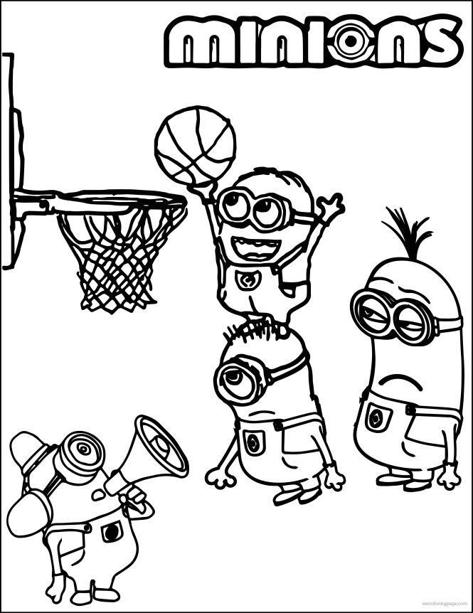 minion playing basketball coloring pages wecoloringpage - Basketball Coloring Page