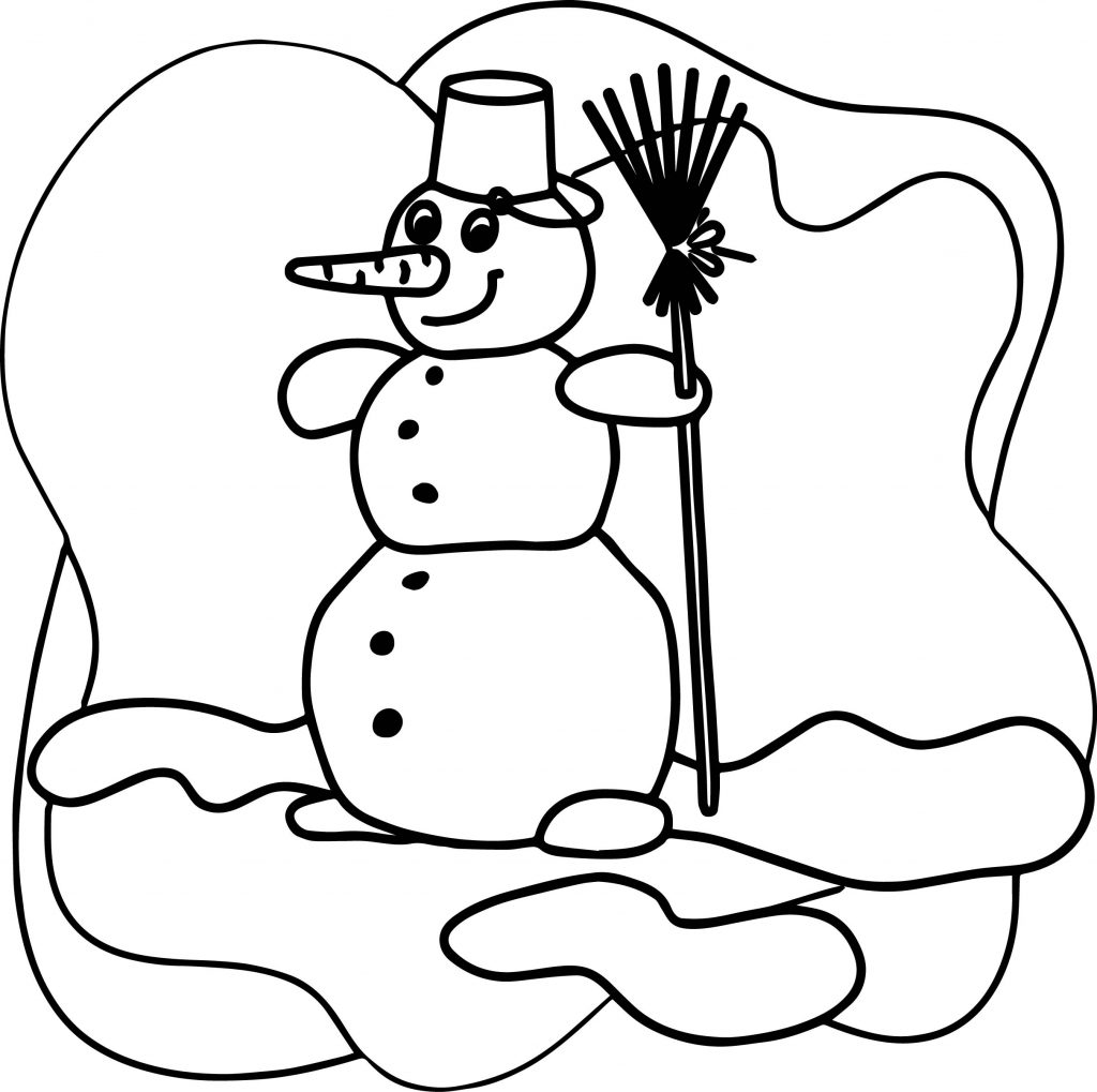 Cartoon Snowman Winter Gratis Coloring Page