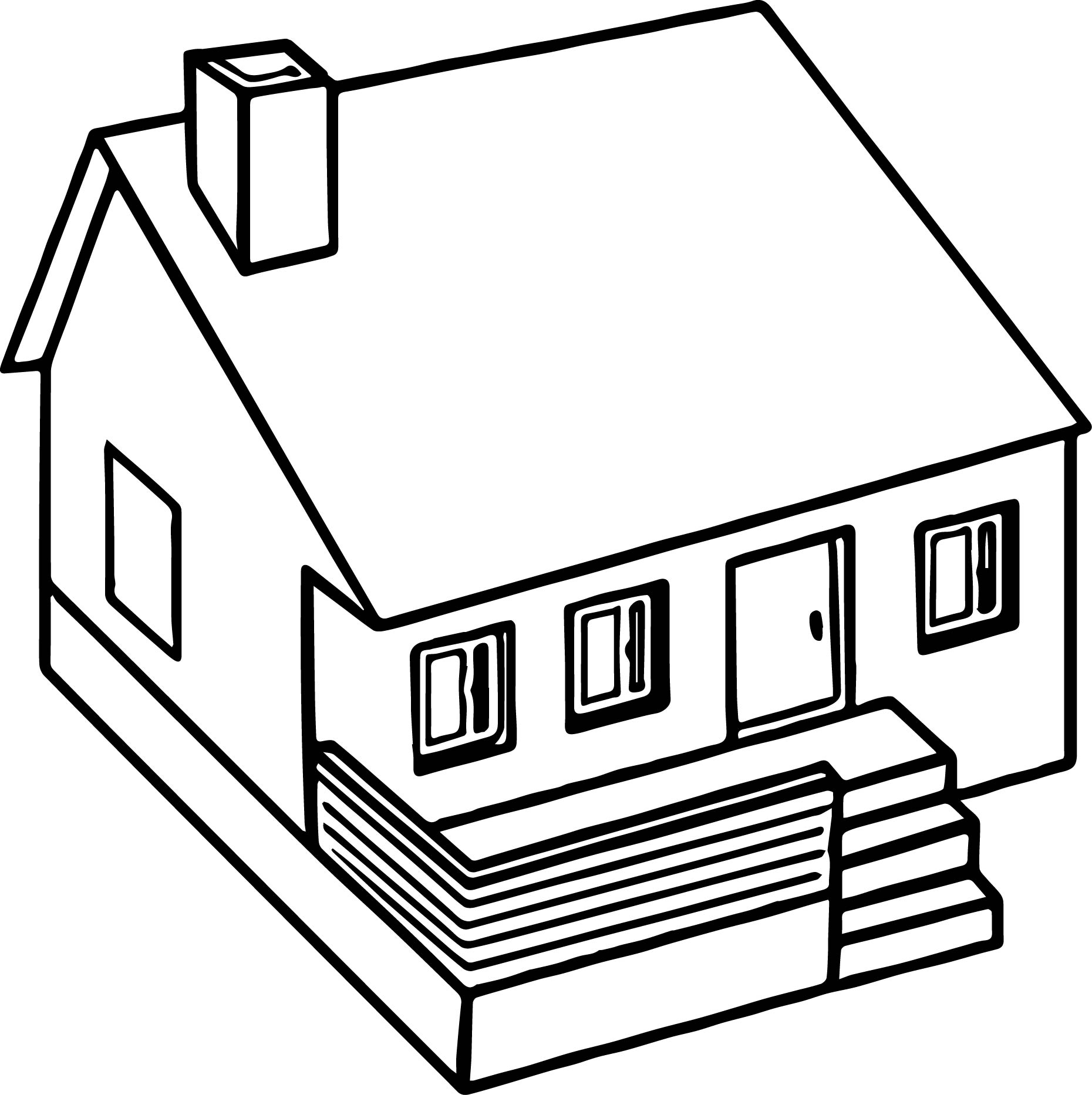 Cute 3d Home Coloring Page