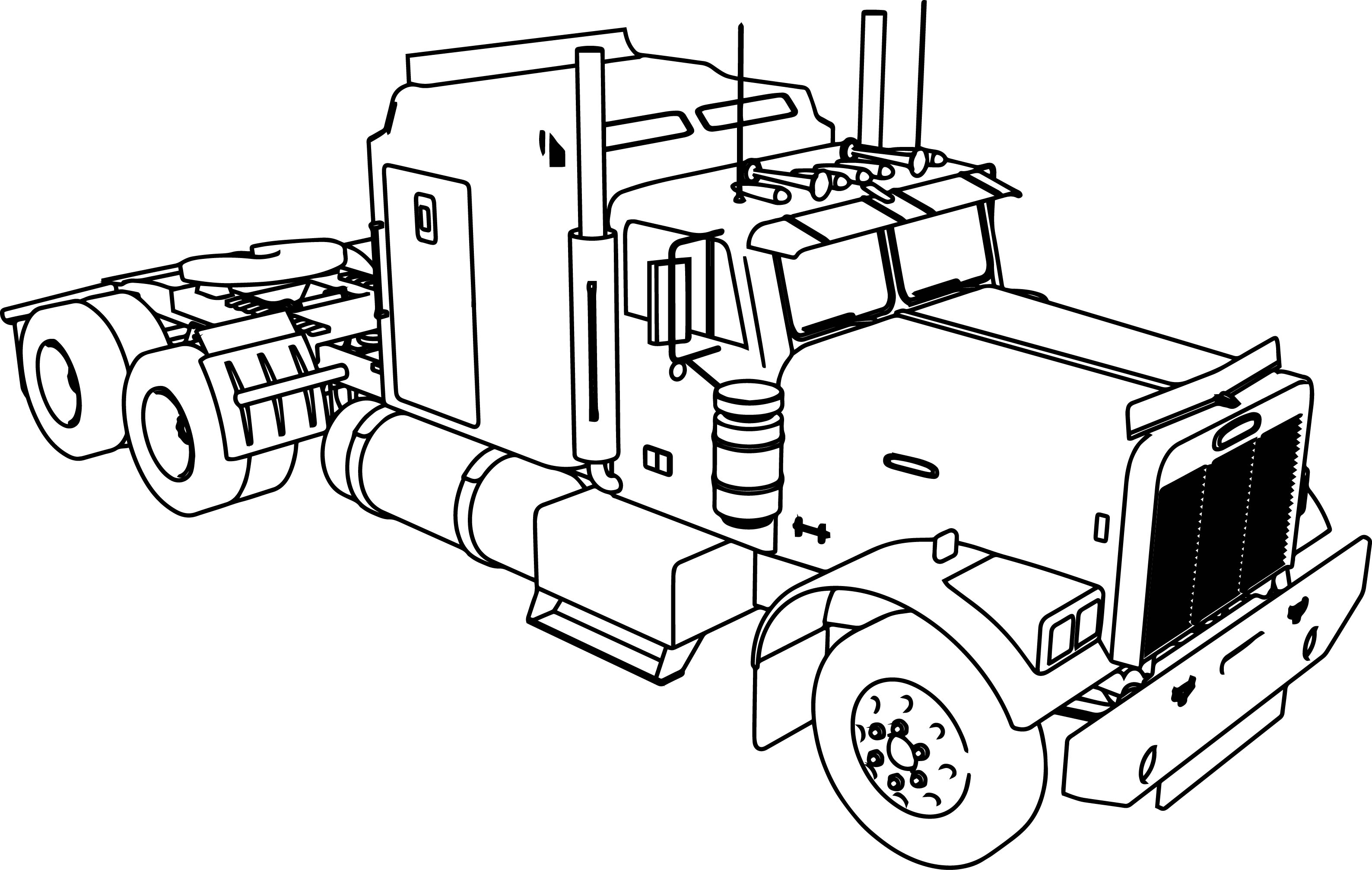 Long Trailer Truck Coloring Page