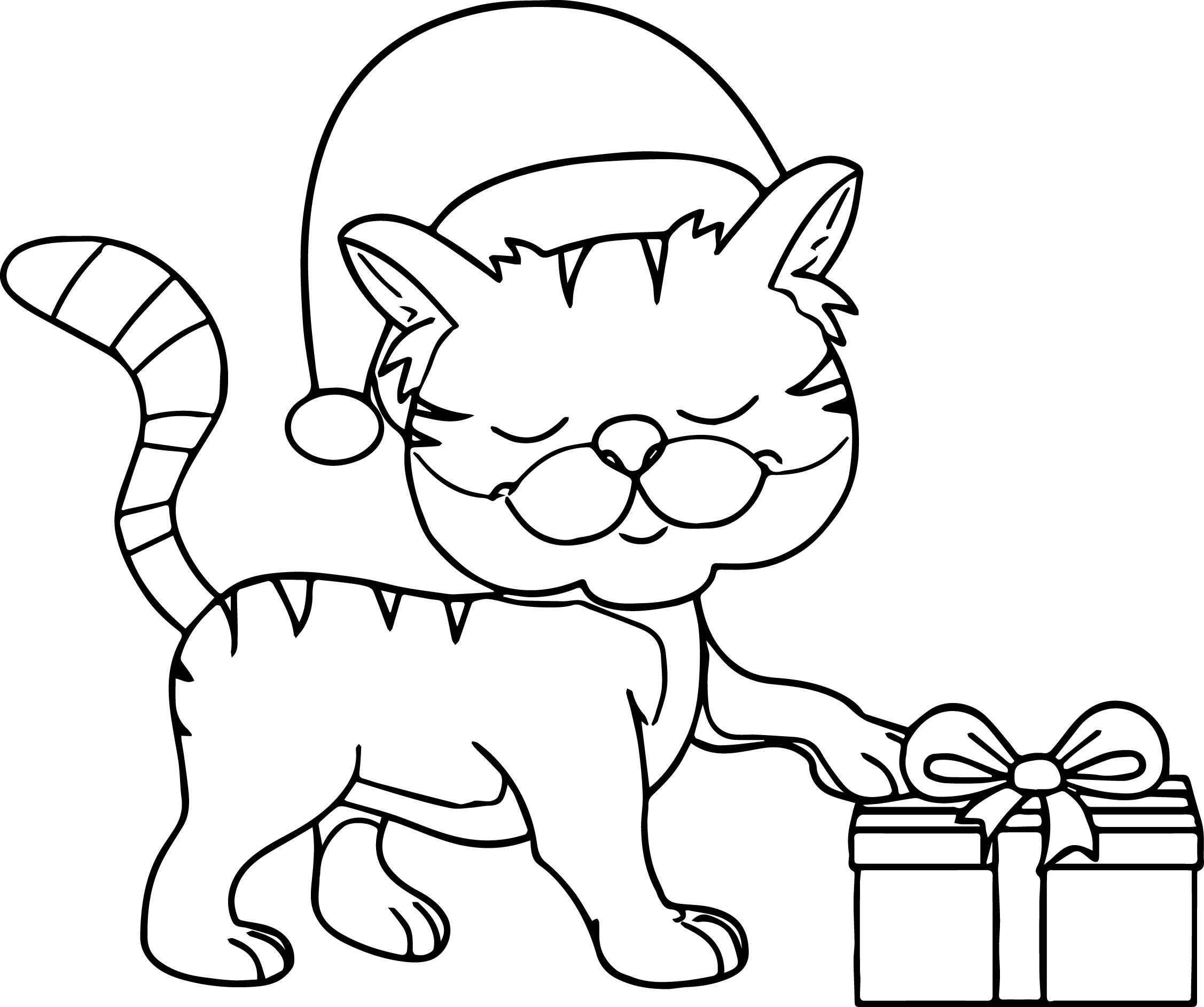 Happy Cat Wearing Christmas Hat Taking T Coloring Page