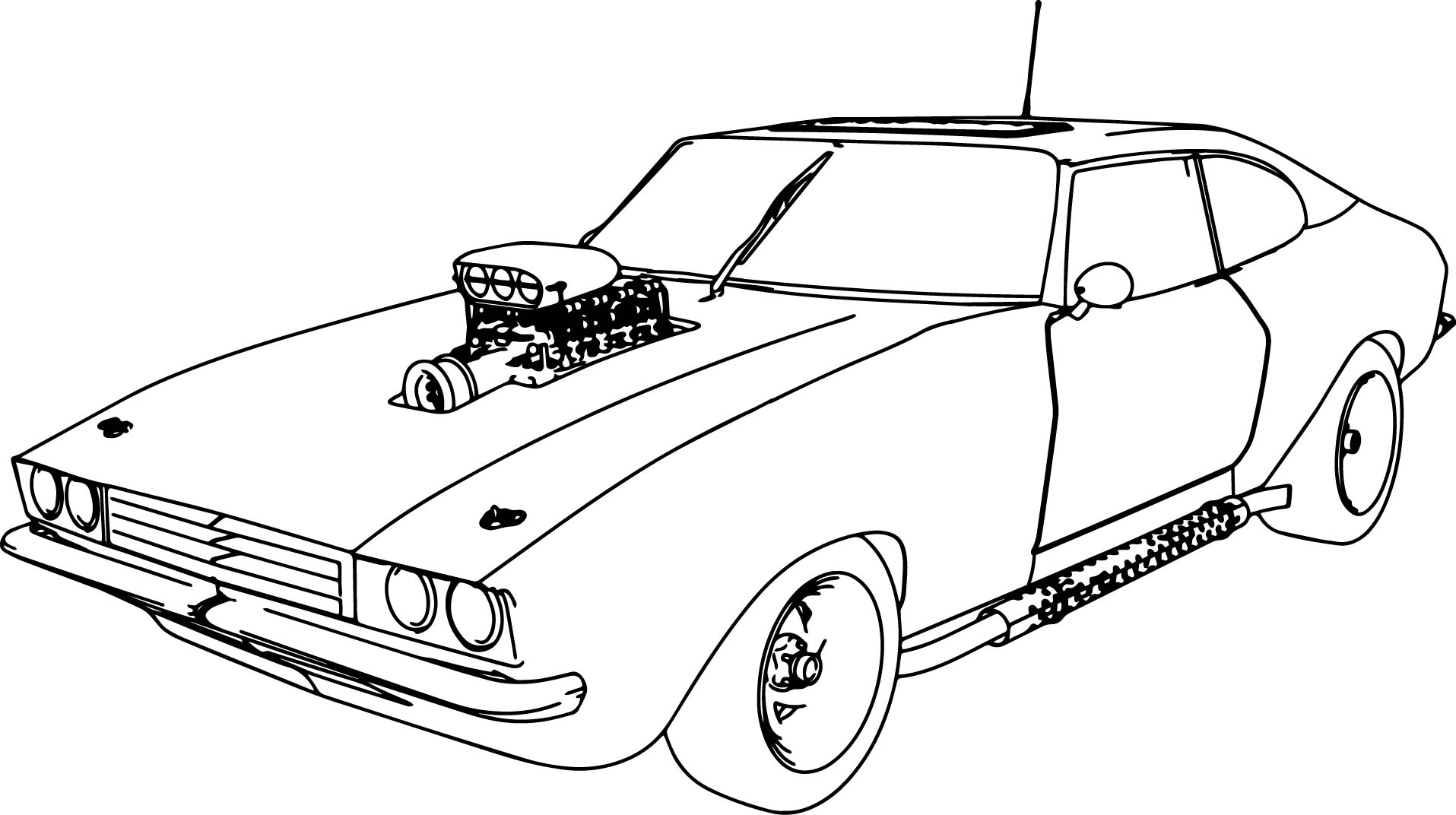 Muscle Car 70 Old Sport Car Coloring Page Wecoloringpage
