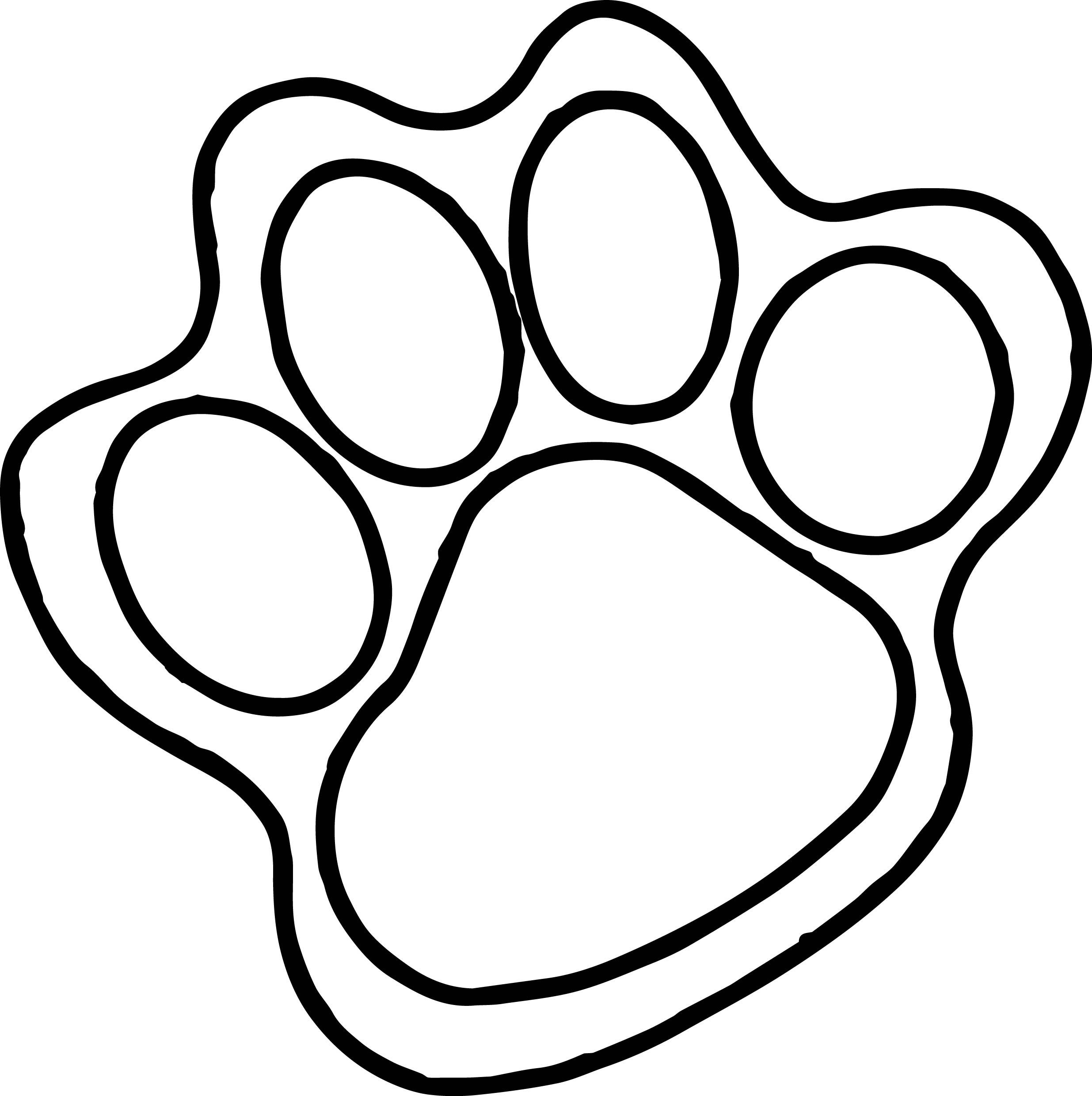Tiger Foot Print Coloring Page