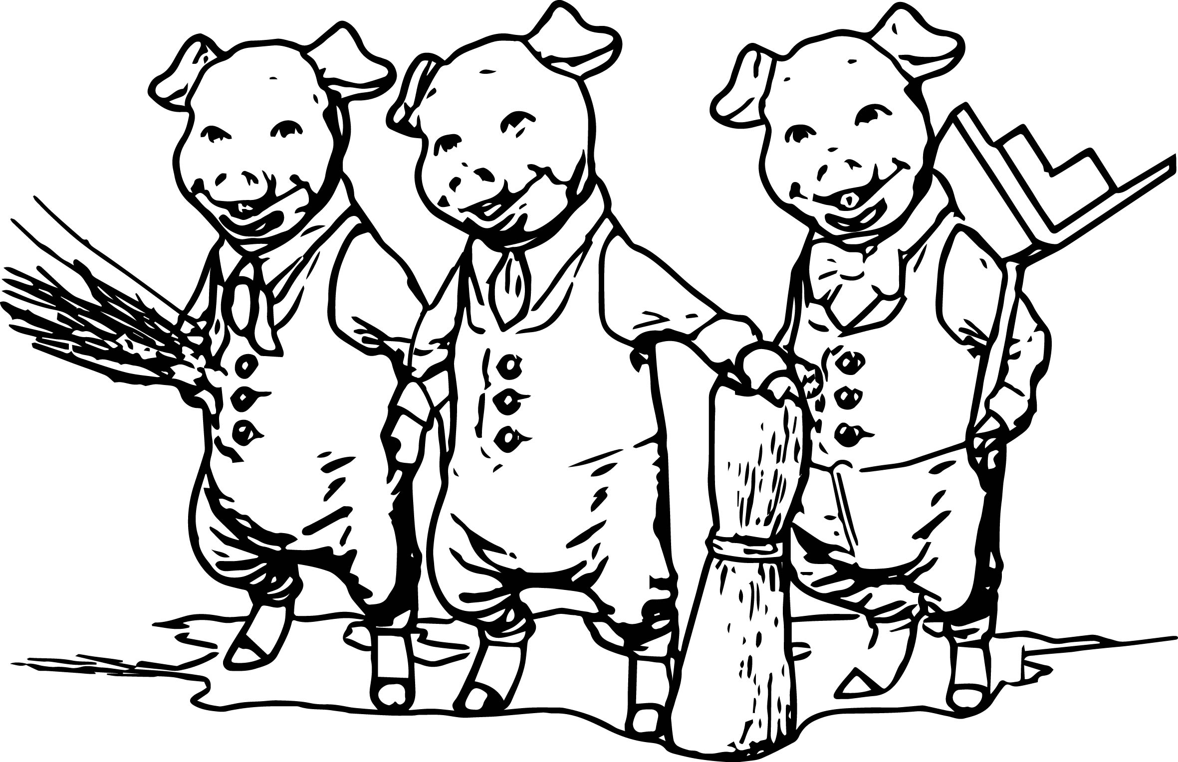 3 Little Pigs Together Coloring Page