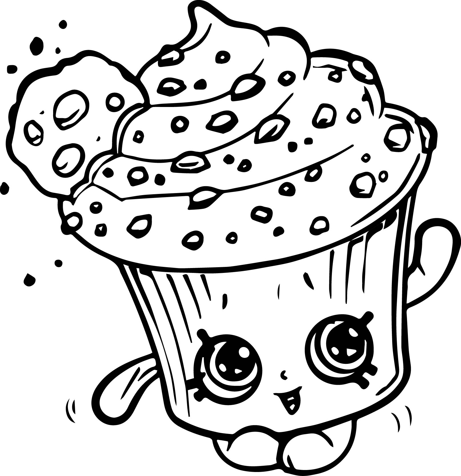 Creamy Cookie Cupcake Coloring Page Wecoloringpage