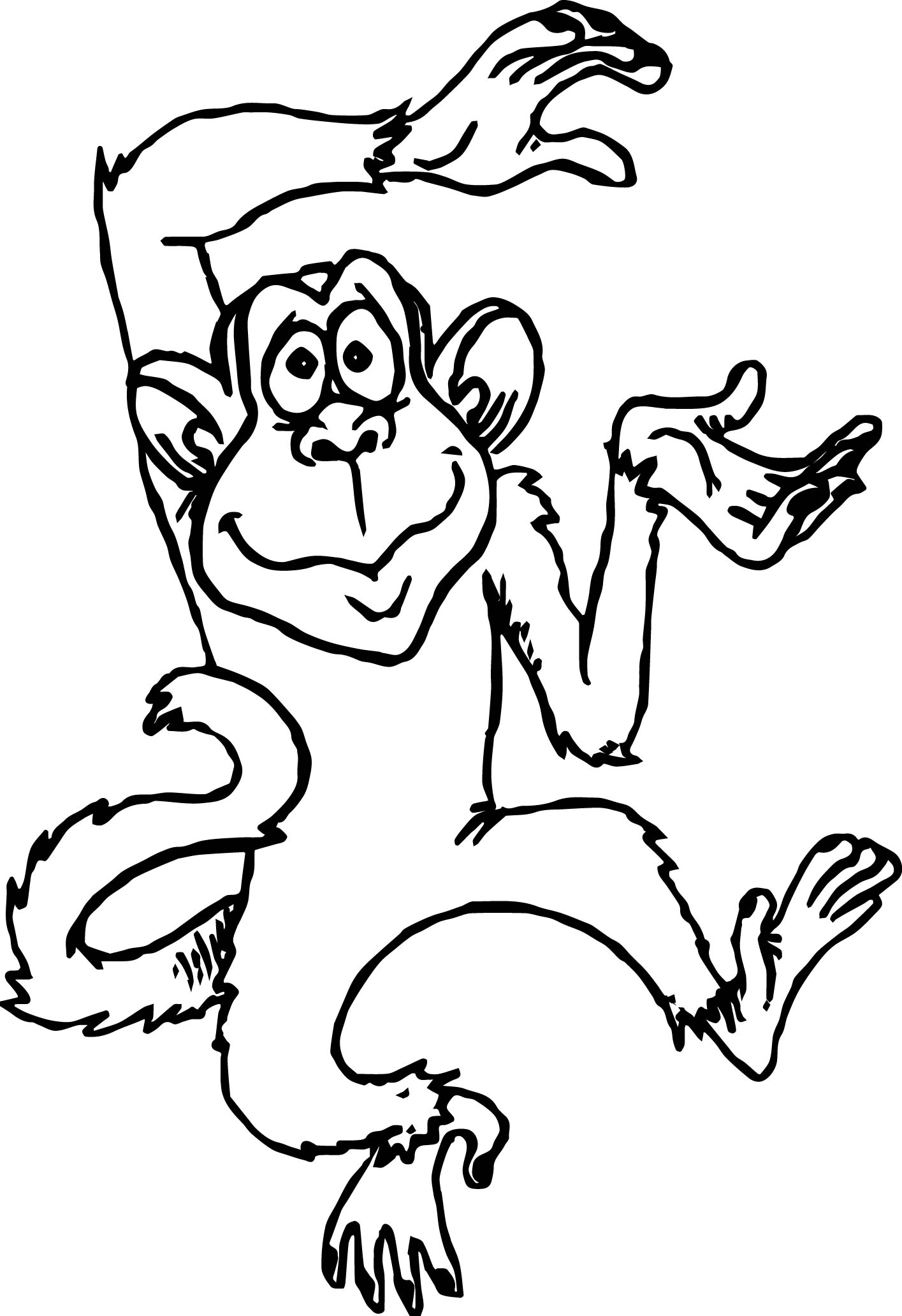 Cute Monkey Cartoons Monkey Coloring Page