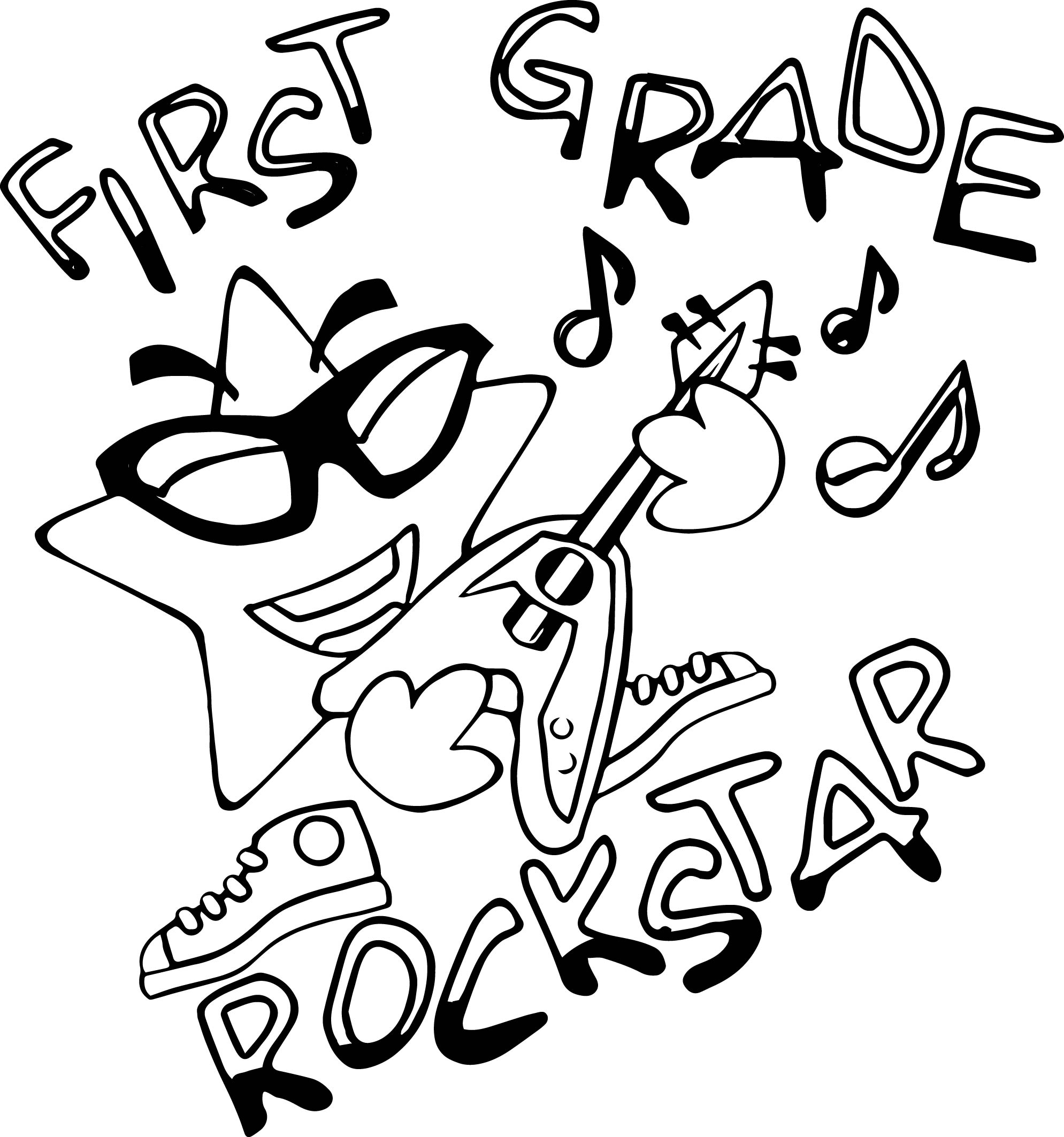 First Grade Rock Star Coloring Page