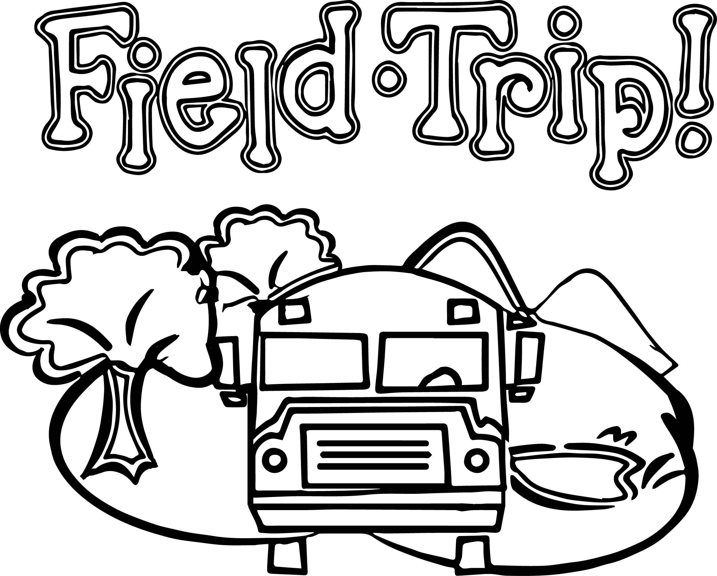 Zoo Field Trip Bus Coloring Page