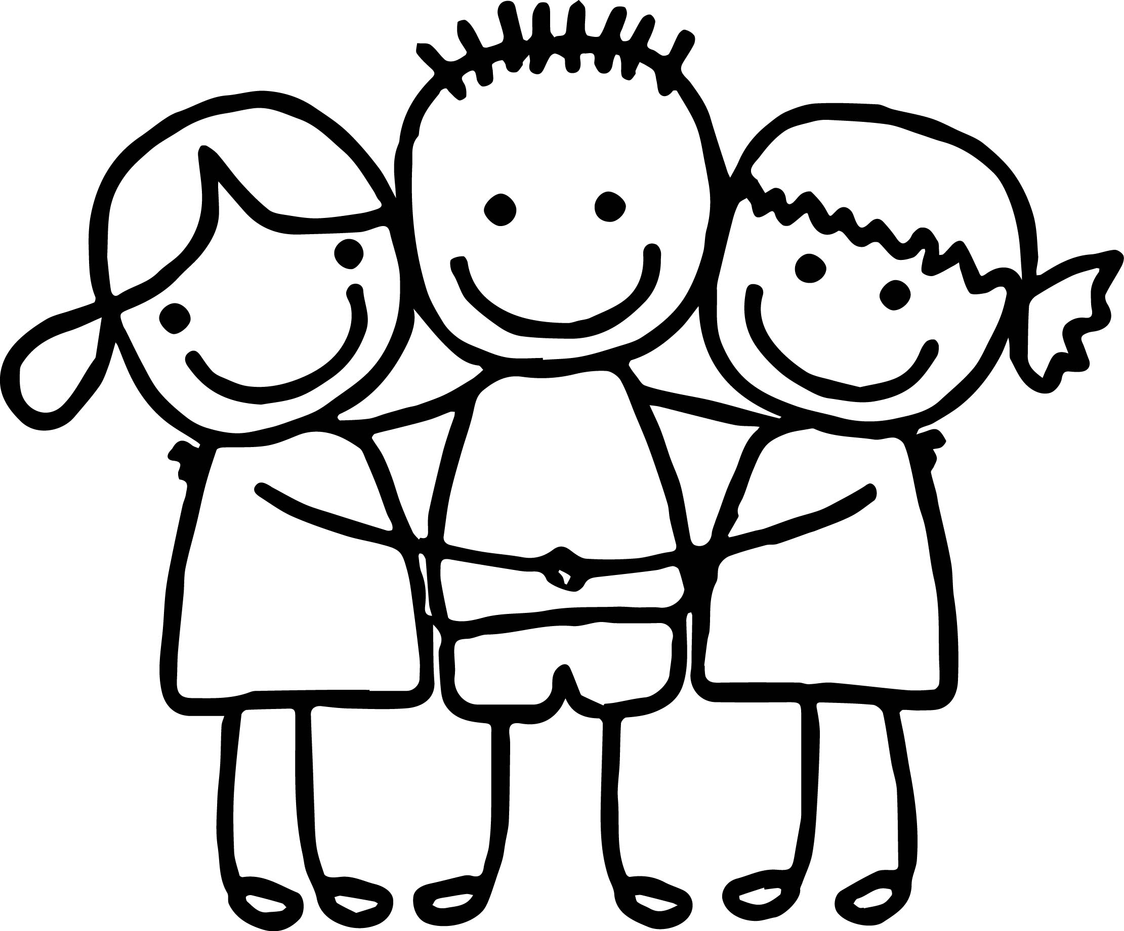 Best Friends Cute Girls Boy Hugging Coloring Page