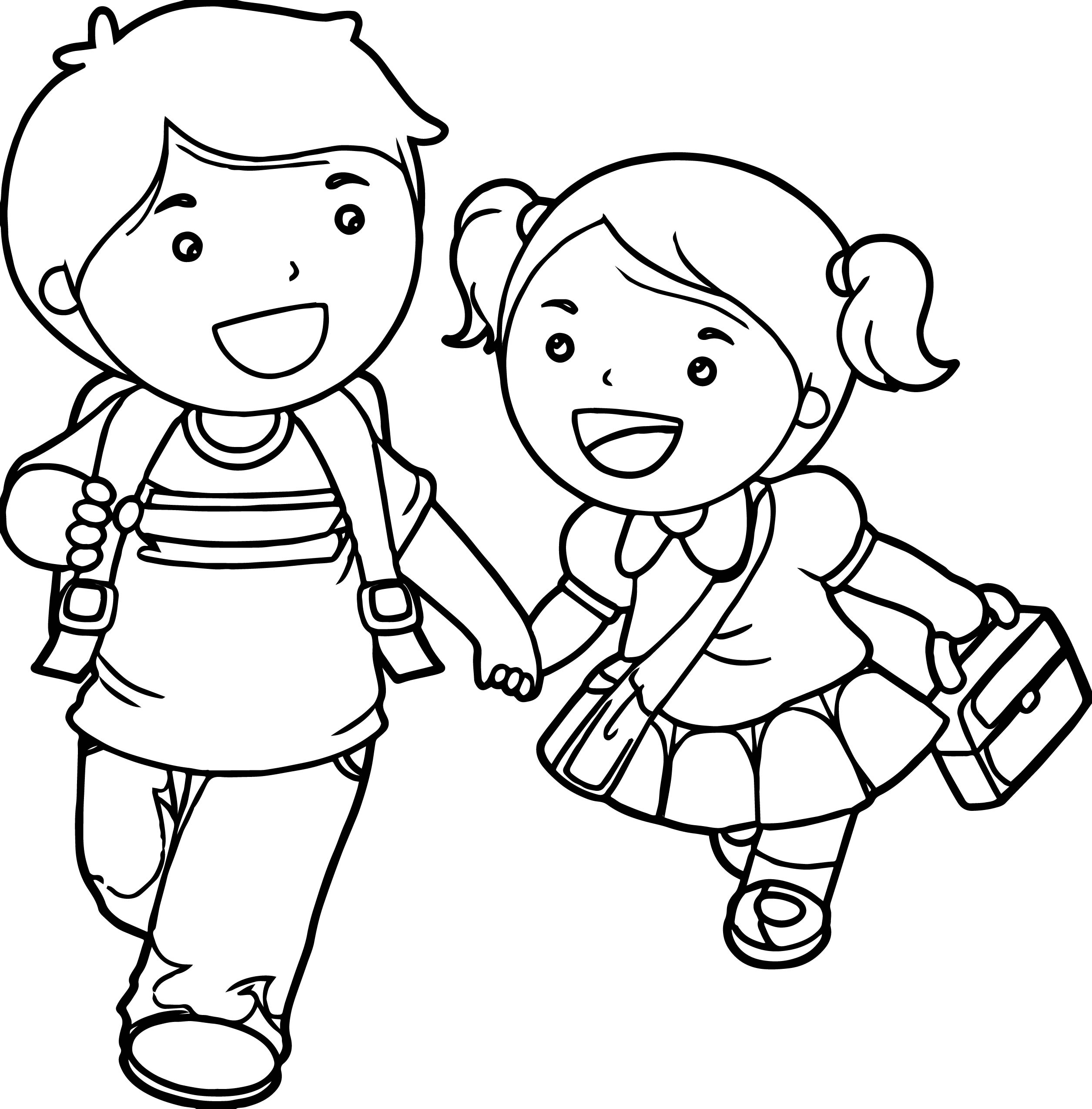 Boy And Girl Lets Go School Coloring Page