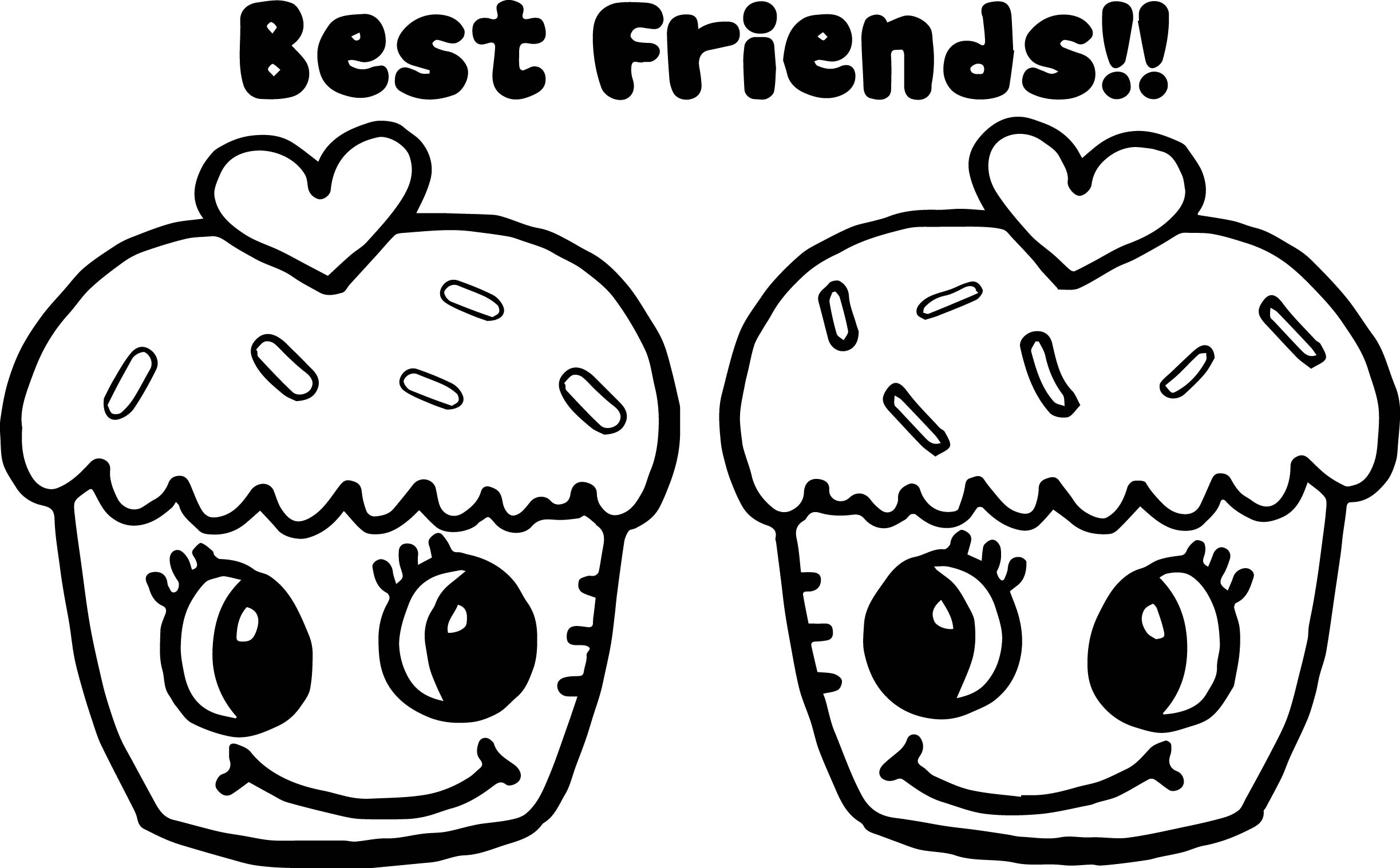 Cupcakes Best Friends Coloring Page Wecoloringpage