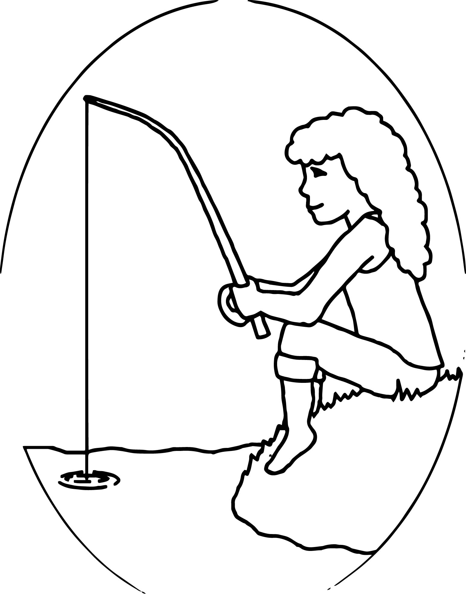 Kids Girl Fishing Coloring Page Wecoloringpage