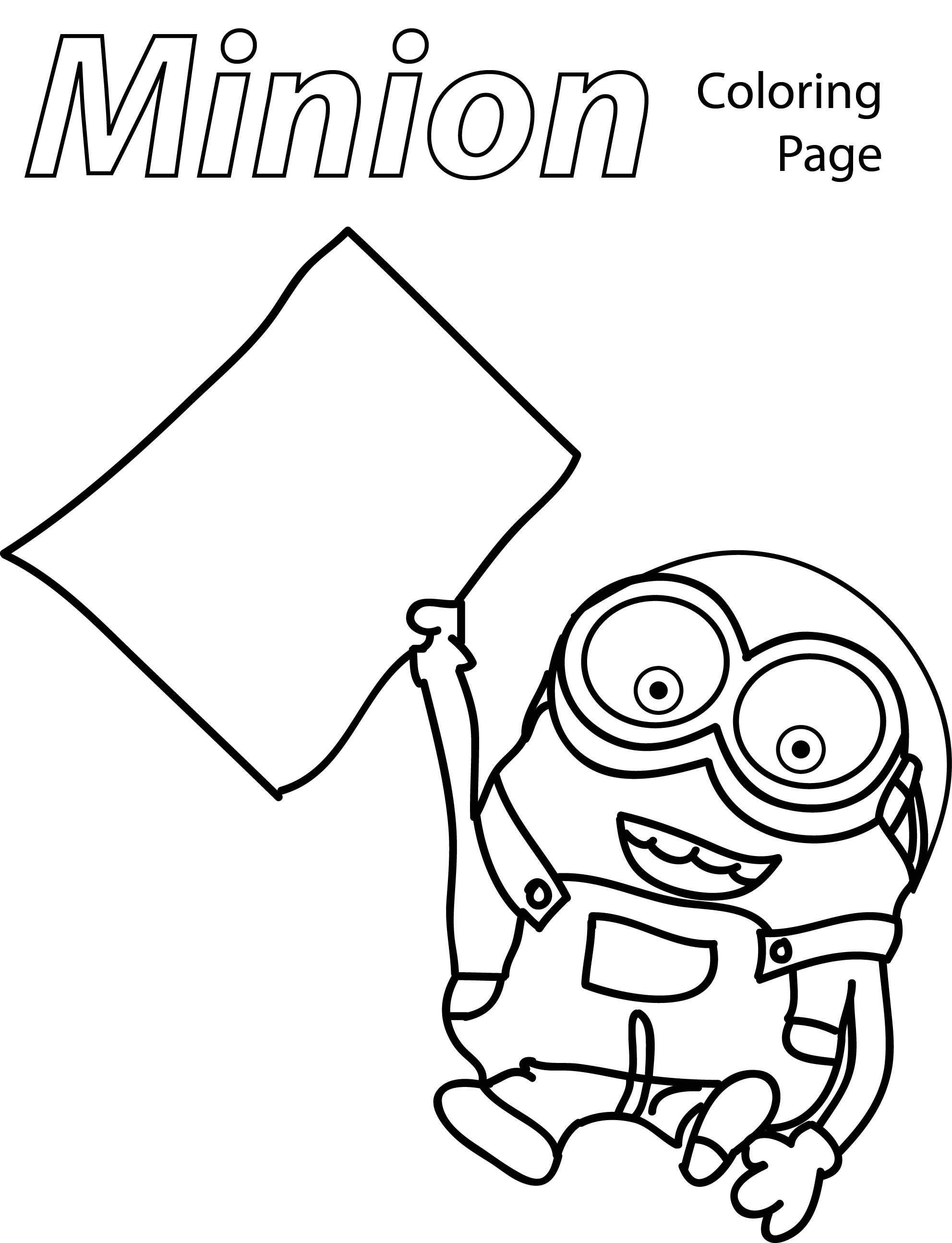 Minion Paper Coloring Page