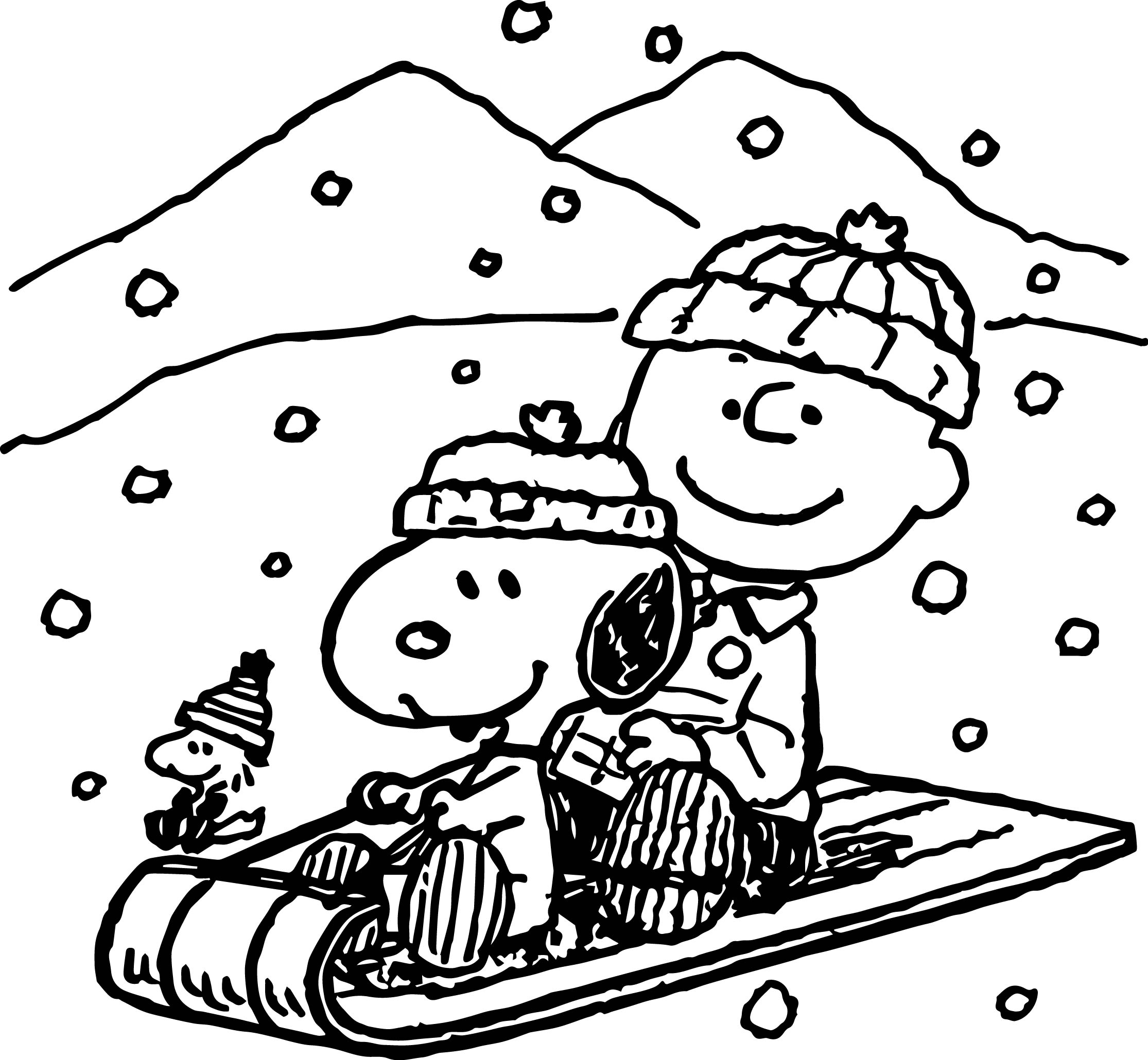 Snoopy Winter Coloring Page