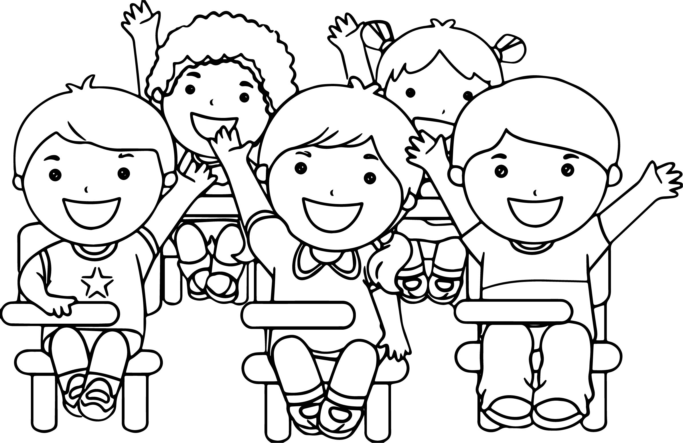 At The School Children Coloring Page