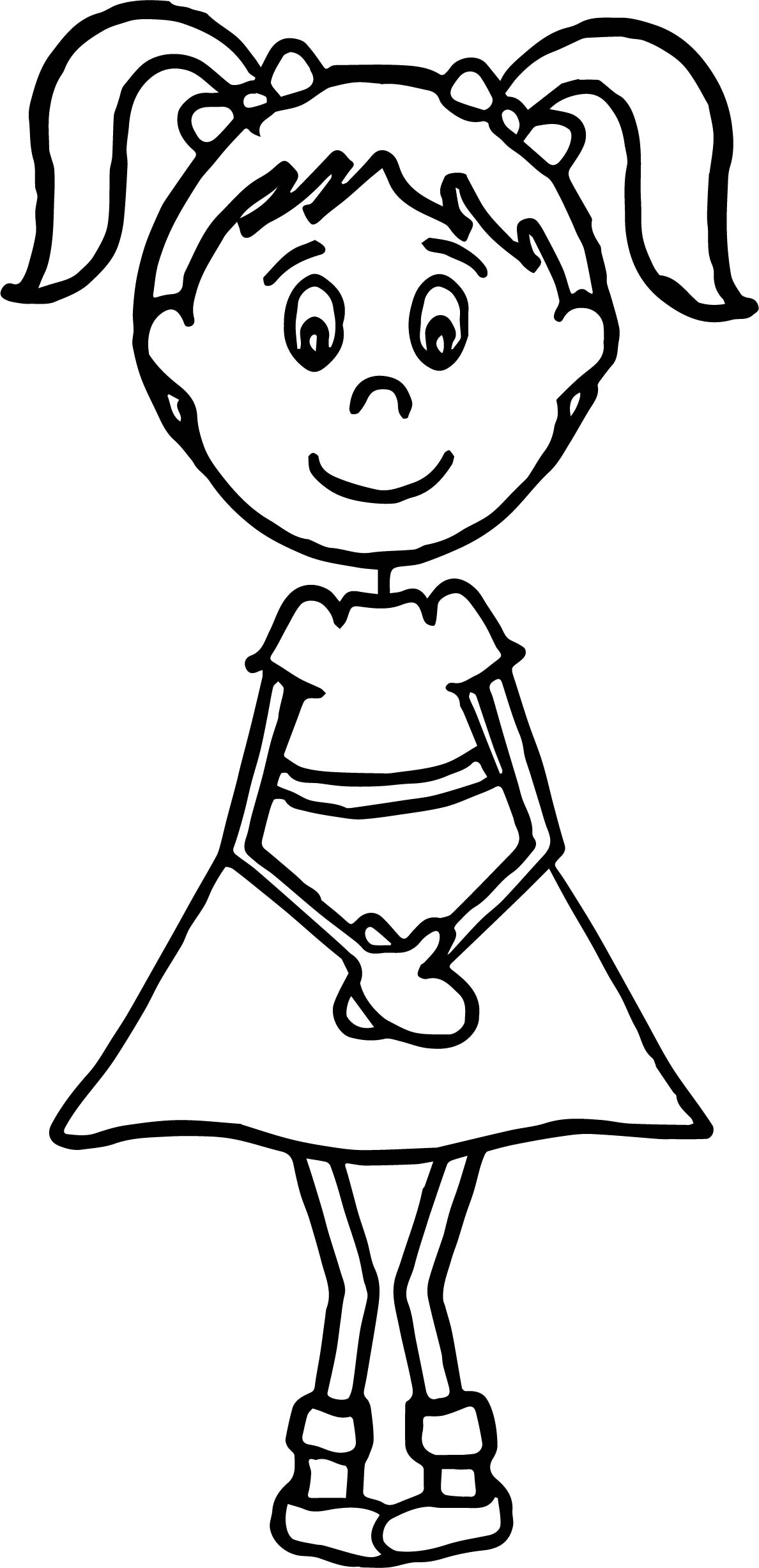 English Teacher Girl Student Coloring Page