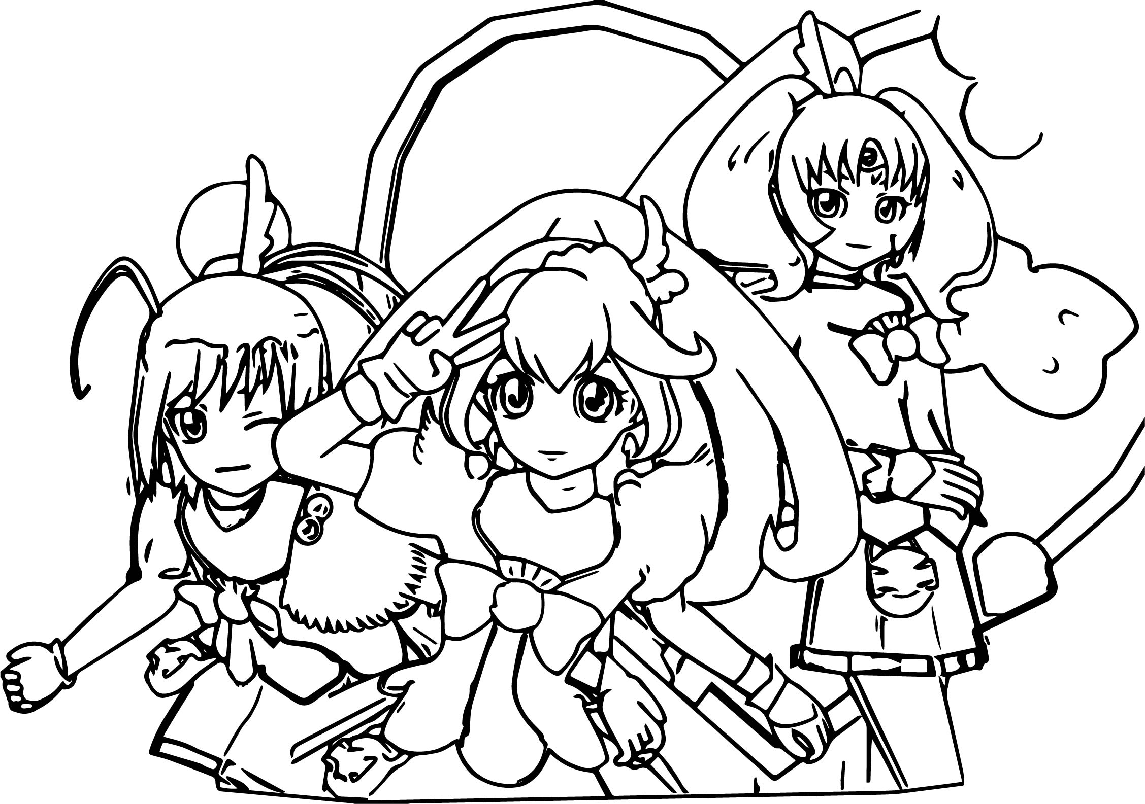 Glitter Force Team Coloring Page Wecoloringpage