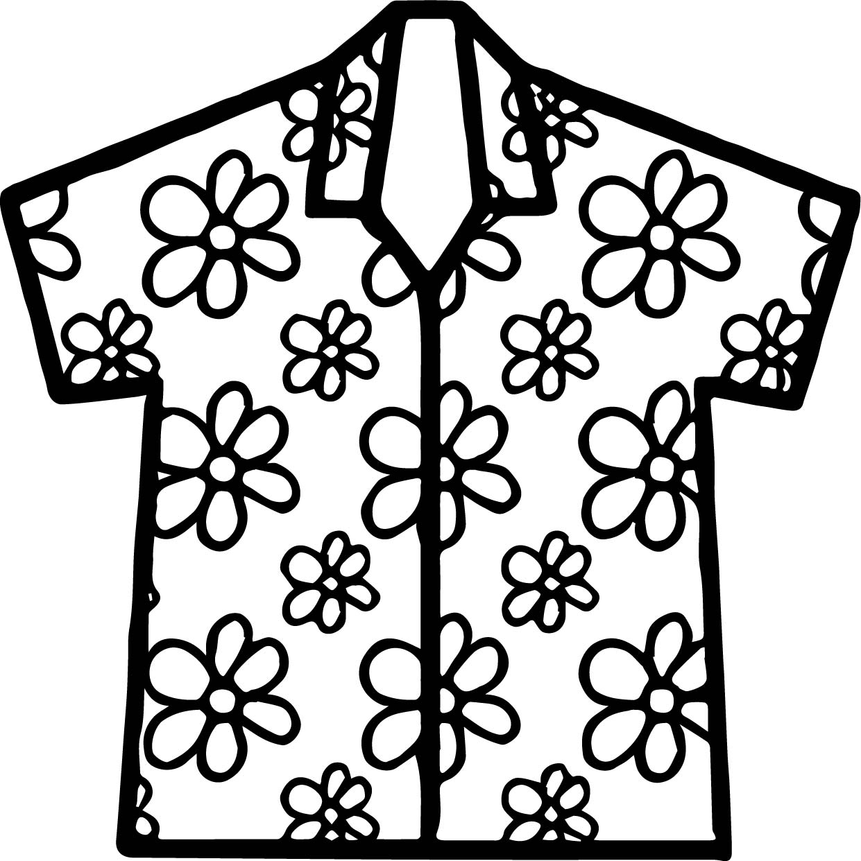 Hawaii Shirt Coloring Page Wecoloringpage