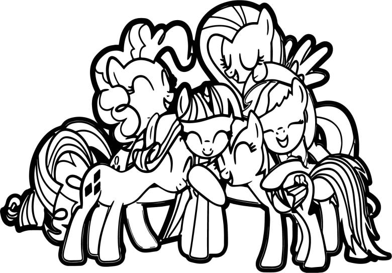 my little pony friendship group hug coloring page | wecoloringpage