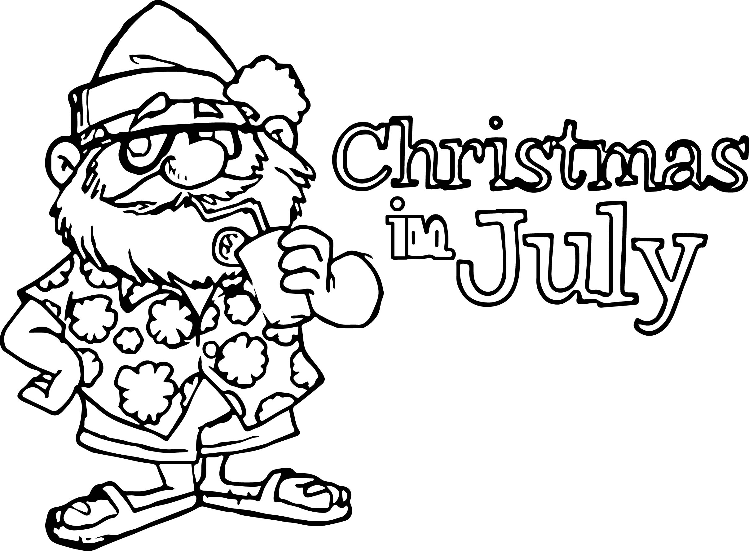 4th Of July Christmas In July Coloring Page