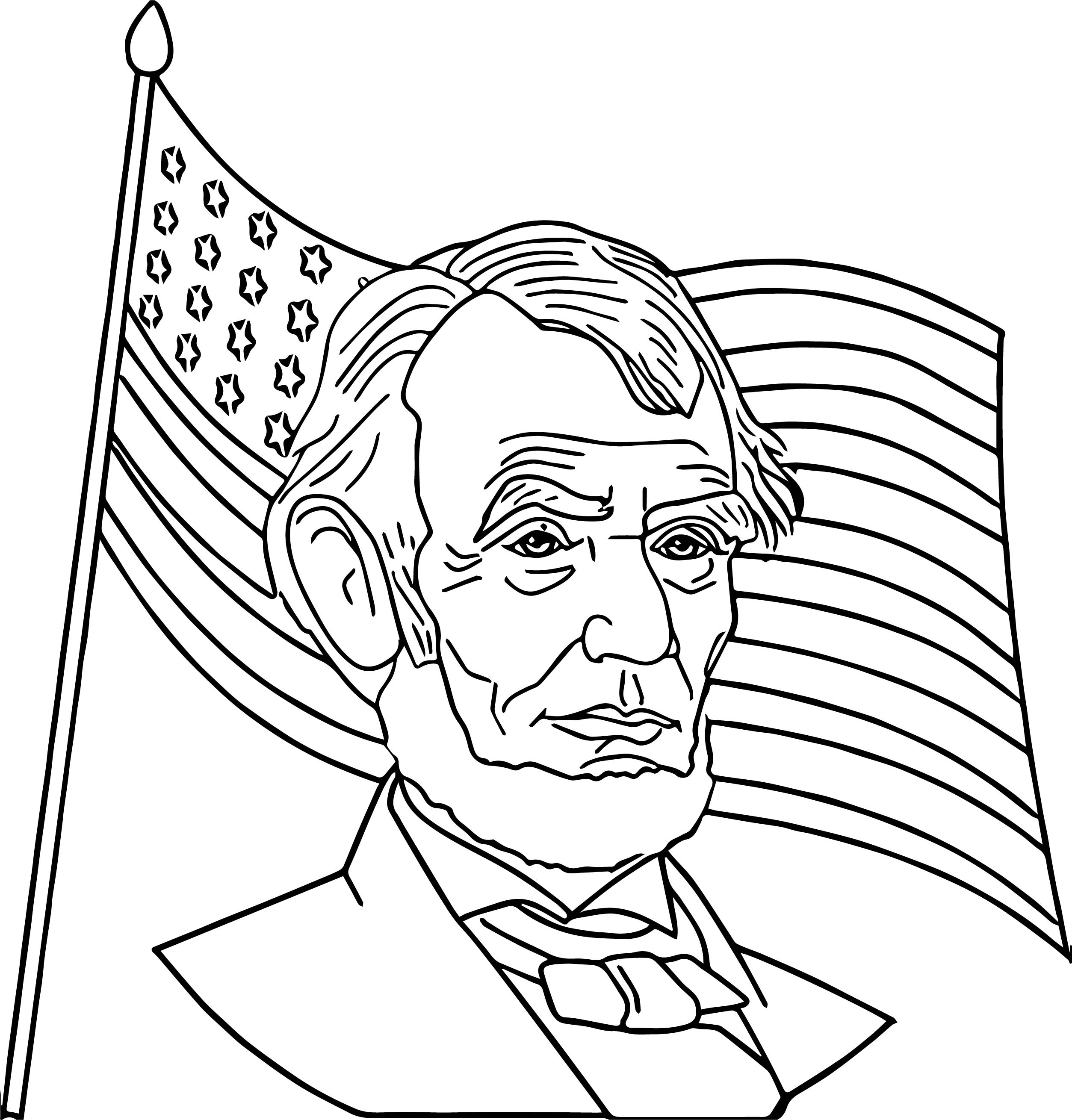 Abraham Lincoln President America Coloring Page Wecoloringpage