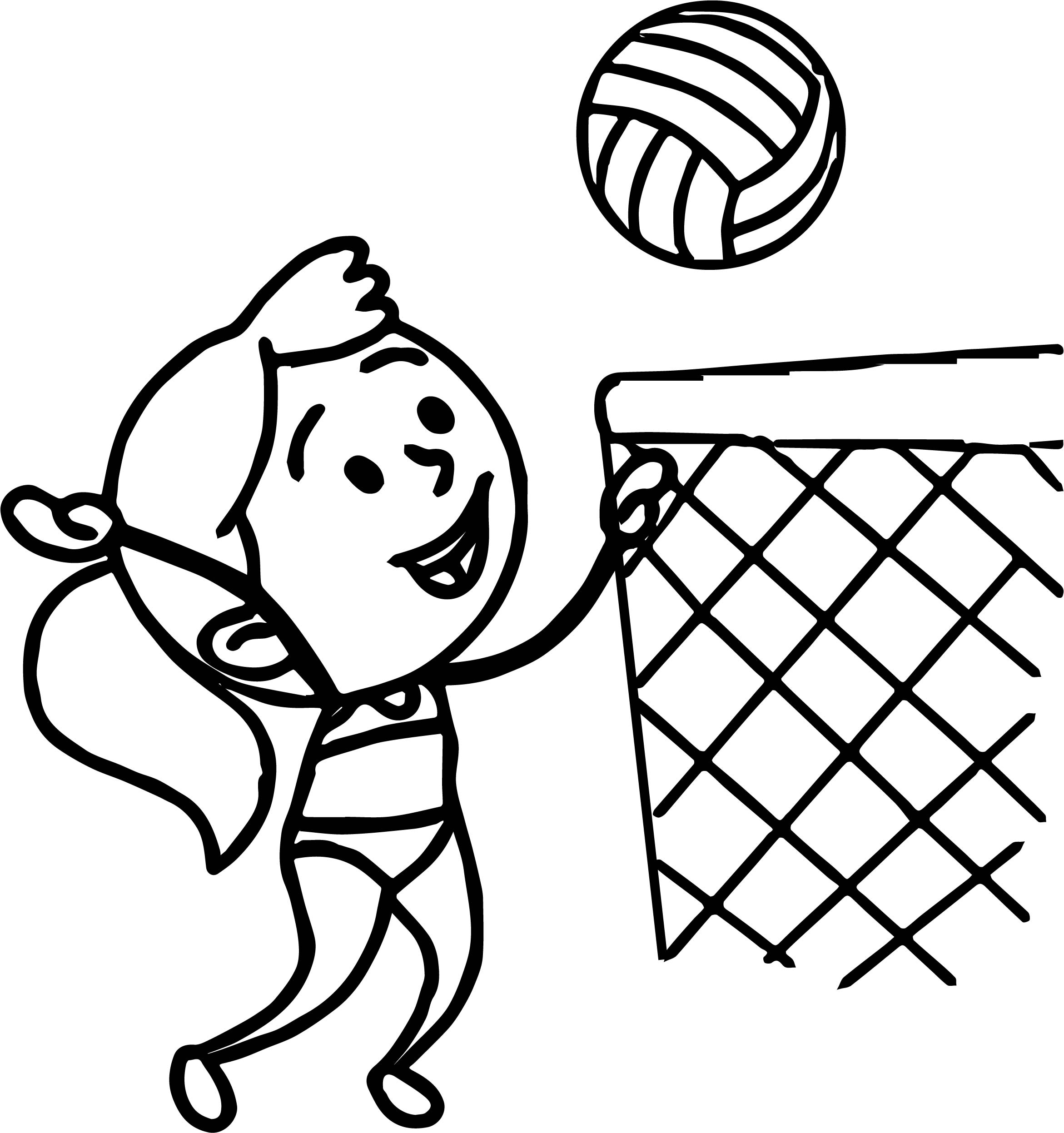 Girl In Bathing Suit Playing Beach Volleyball Coloring