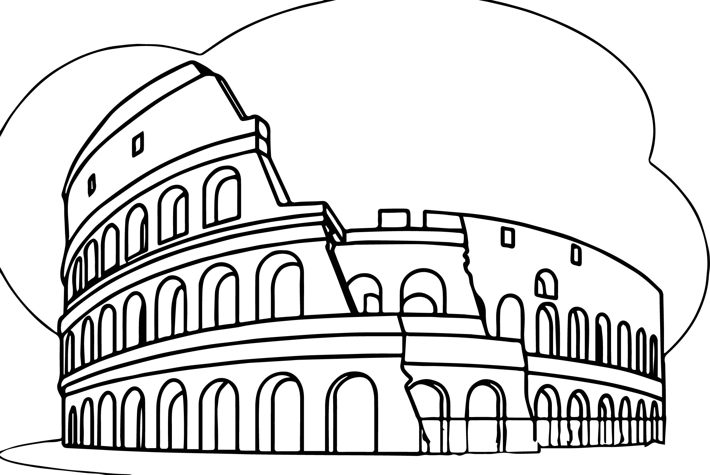 Roman Colosseum Italy Wonders World Coloring Page