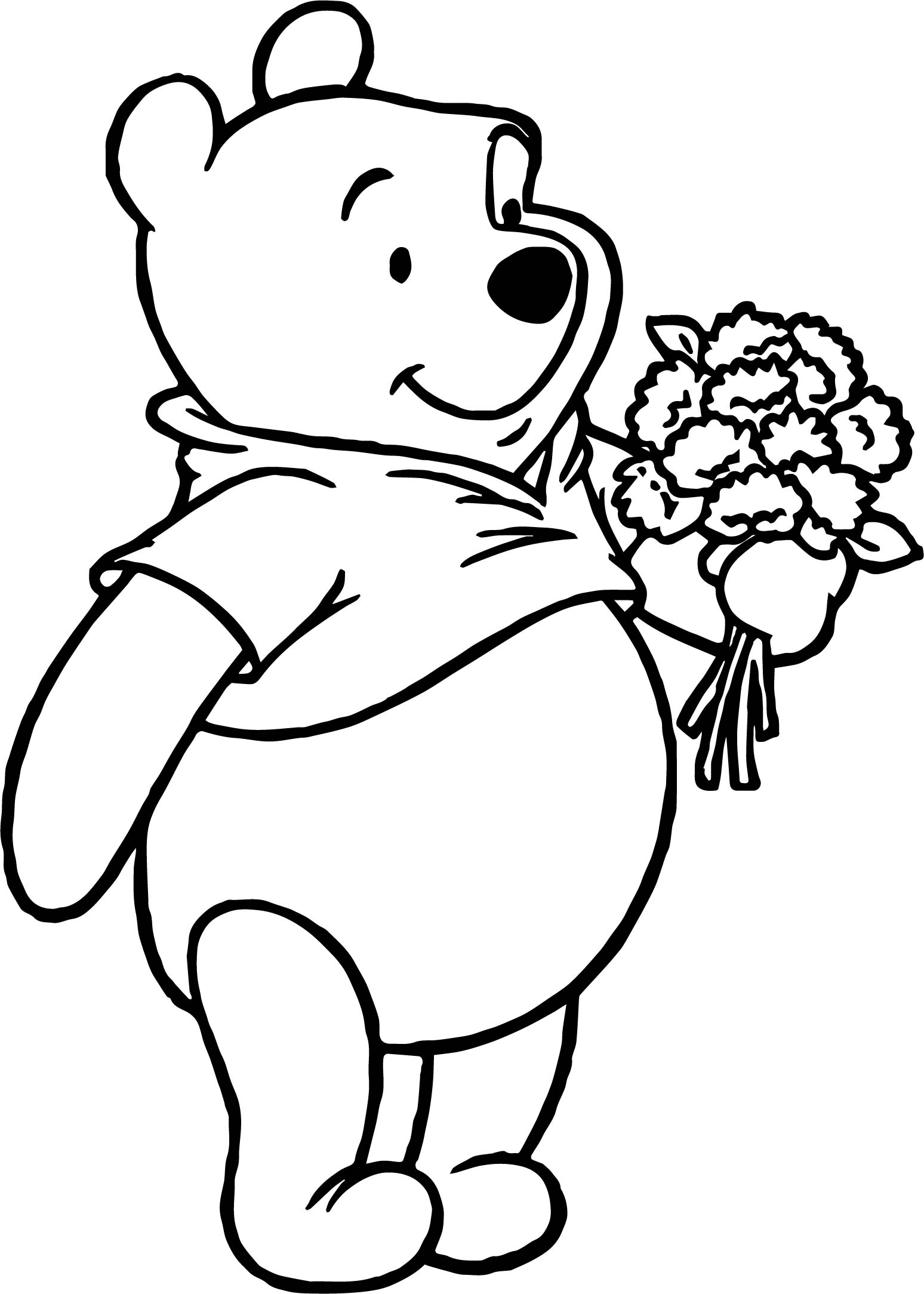Winnie The Pooh Flower Coloring Page