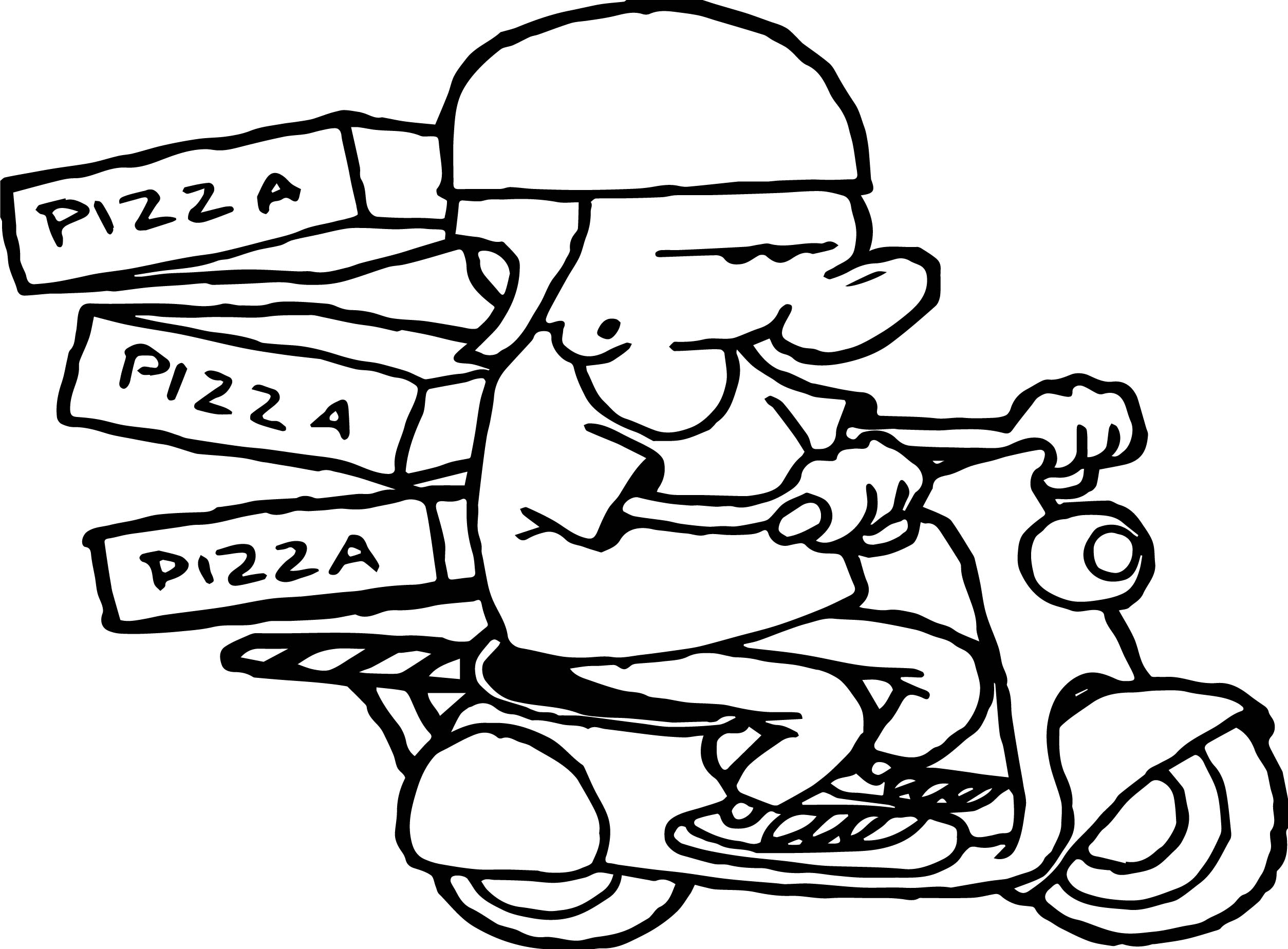 Bike And Pizza Boy Coloring Page