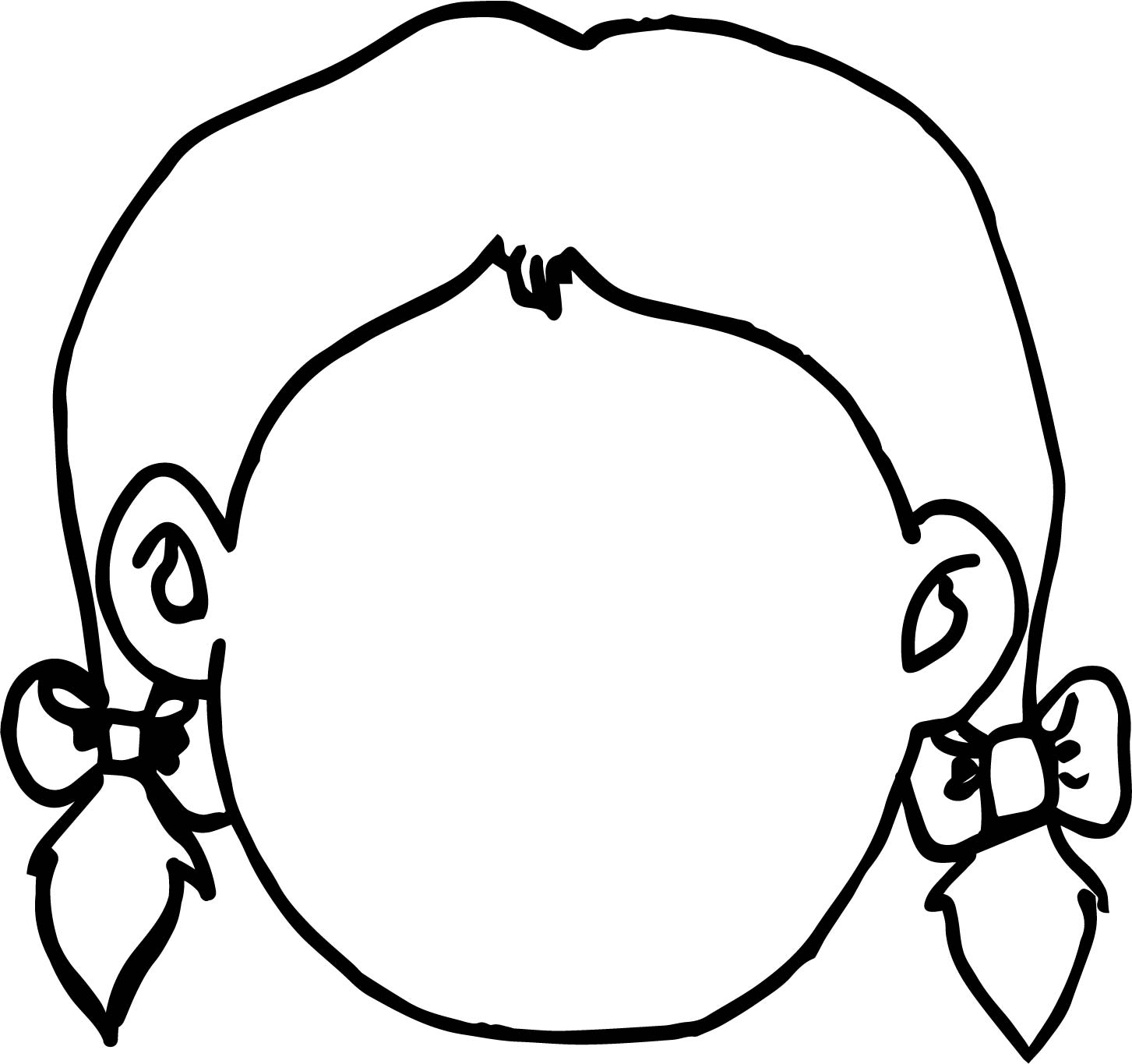 Empty Girl Face Coloring Page