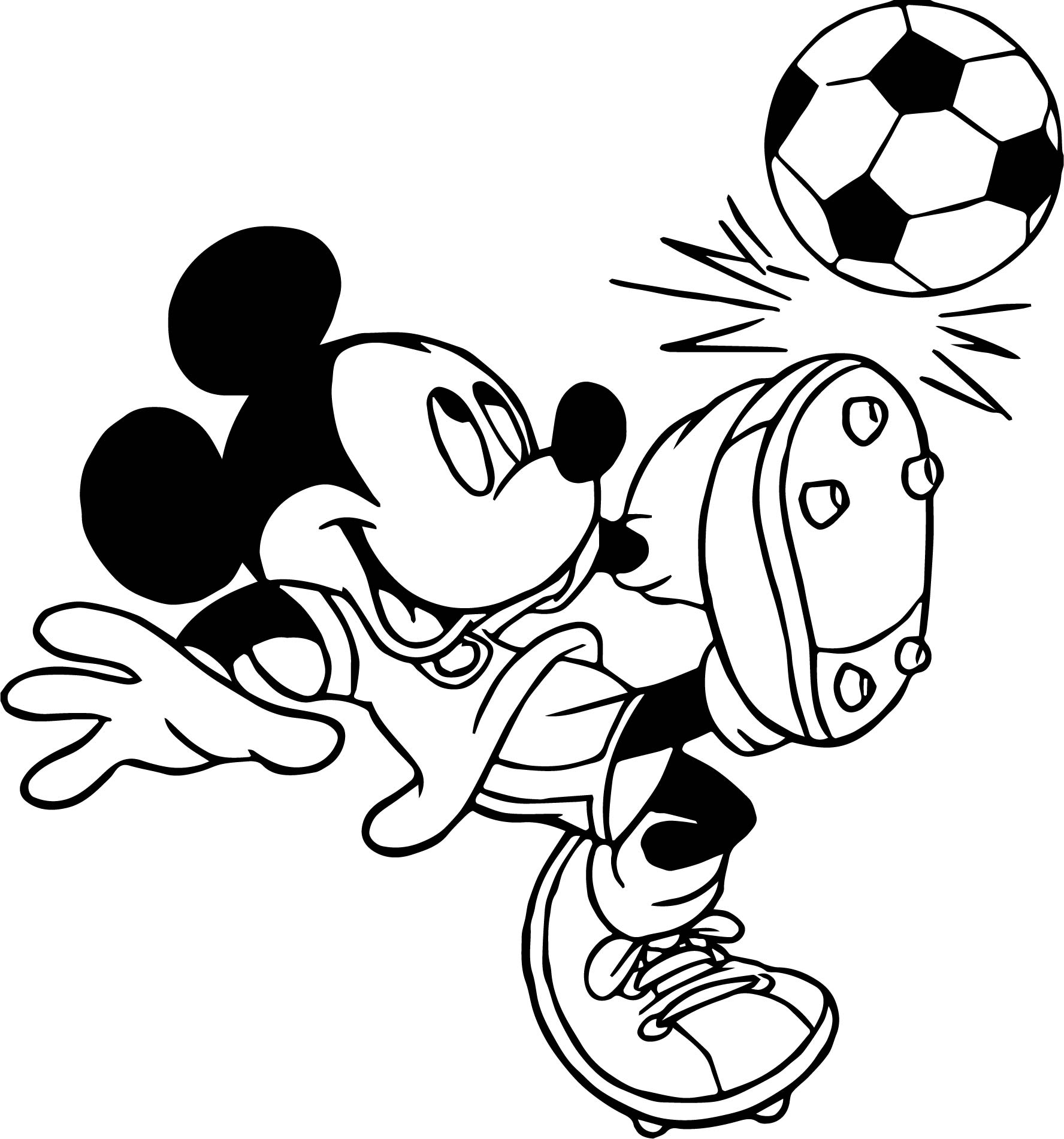 Soccer Player Mickey Mouse Kicks Ball Playing Football