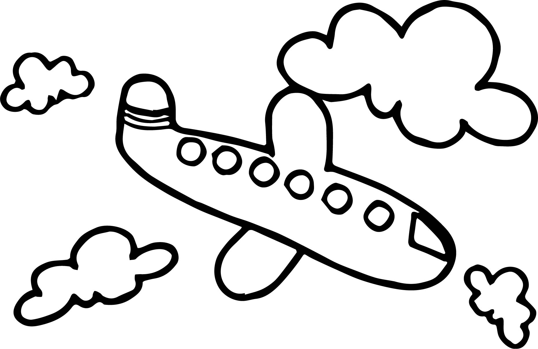 Basic On Cloud Airplane Coloring Page