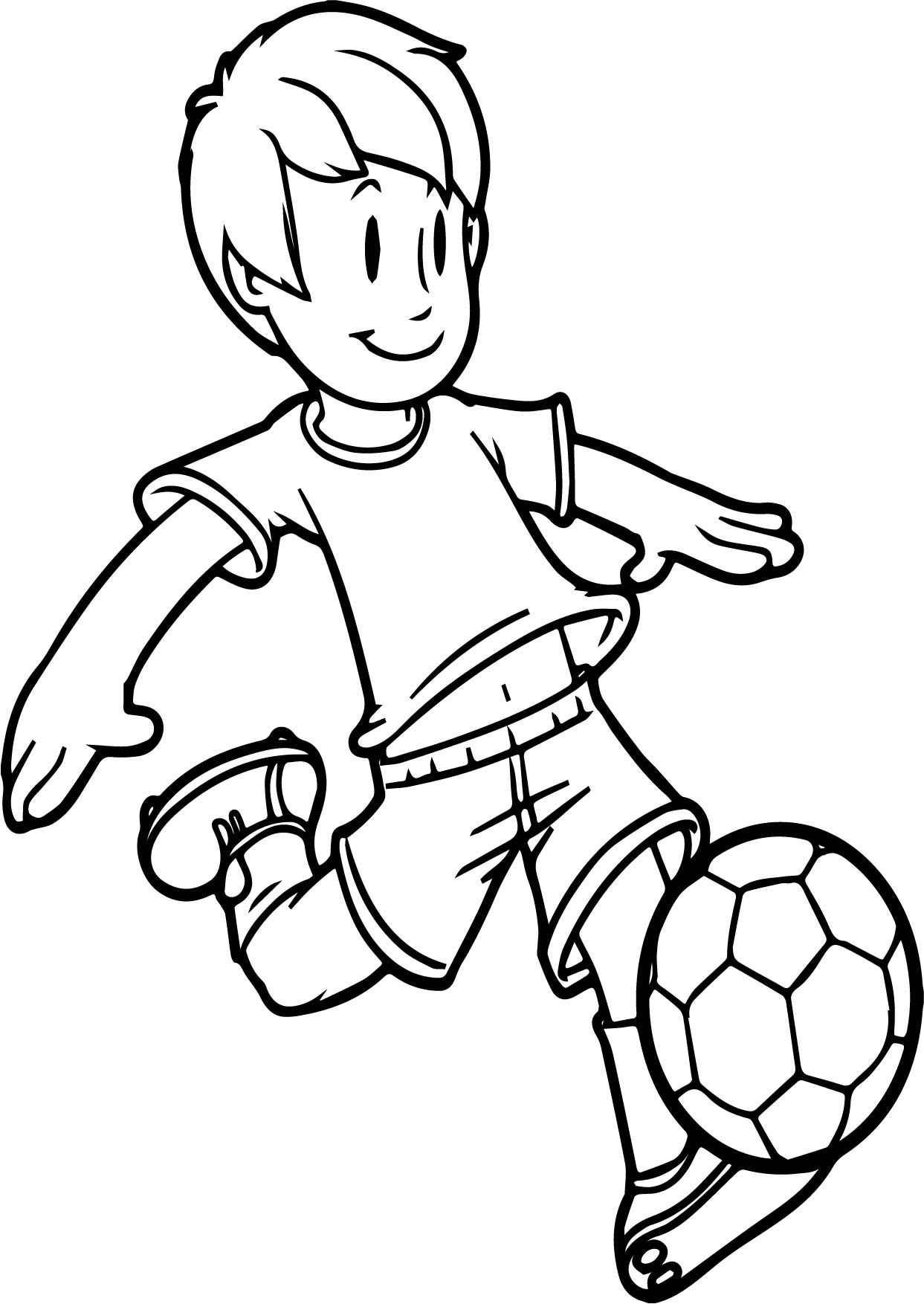 Cartoon Boy Playing Soccer Kid Ball On Easy Coloring Page