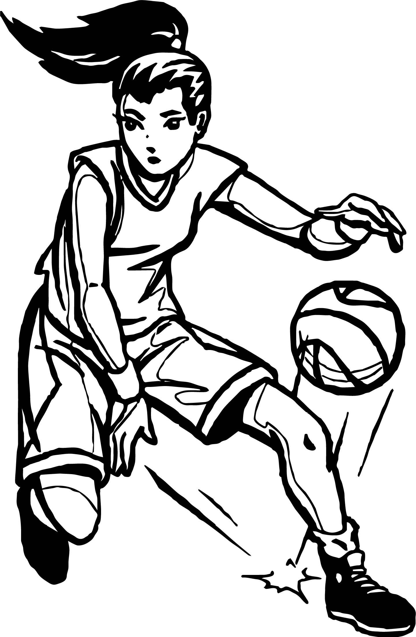 Girl Player Playing Basketball Coloring Page