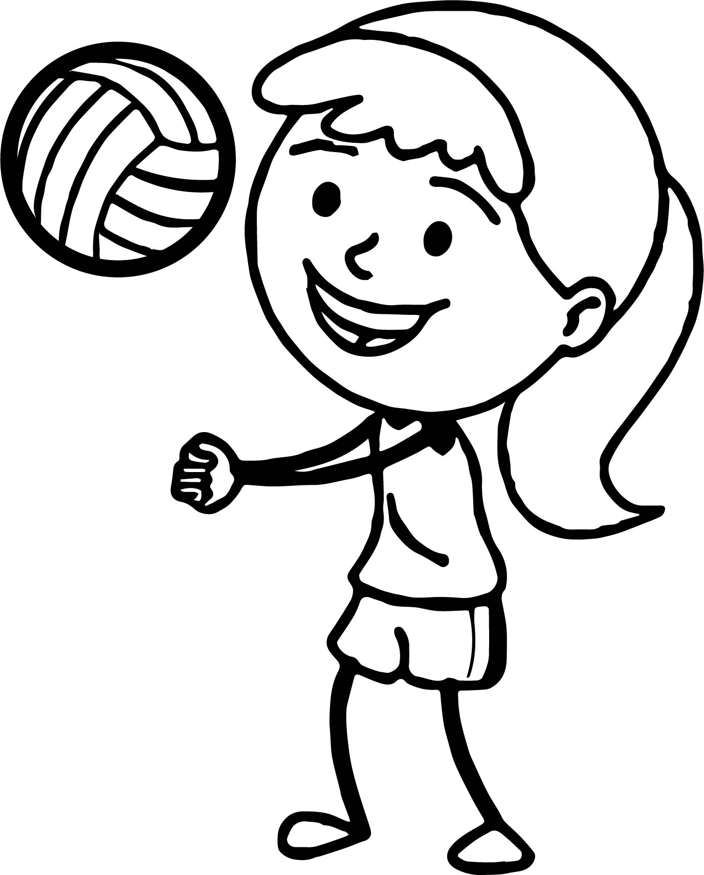 Girl Playing Volleyball Bump Pass Coloring Page