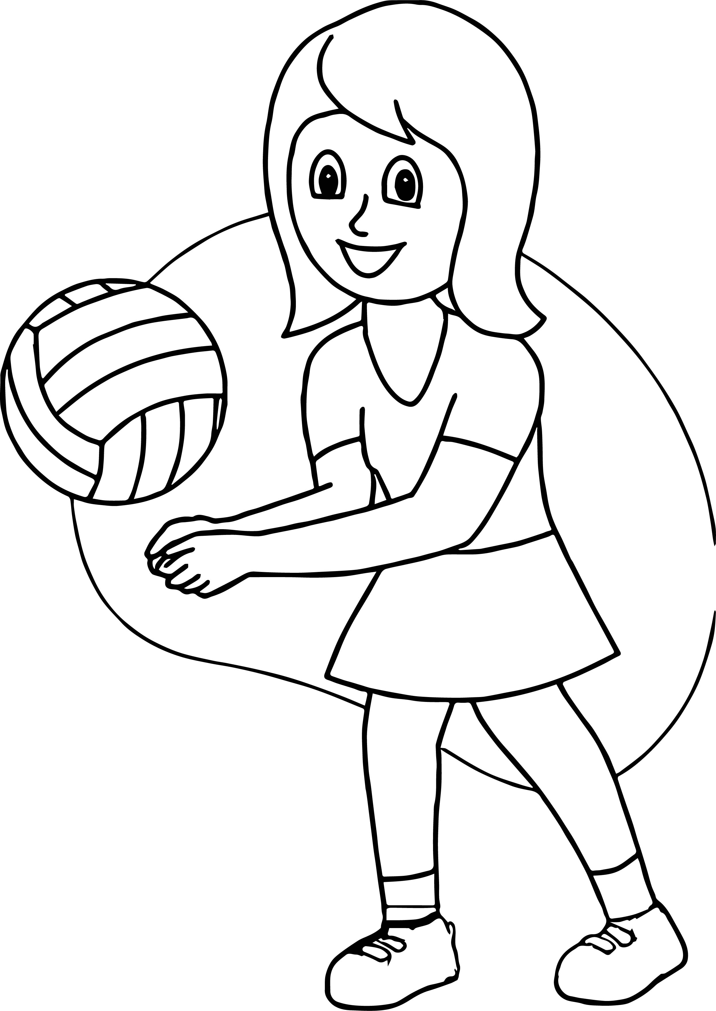 Girl Playing Volleyball Good Coloring Page Wecoloringpage