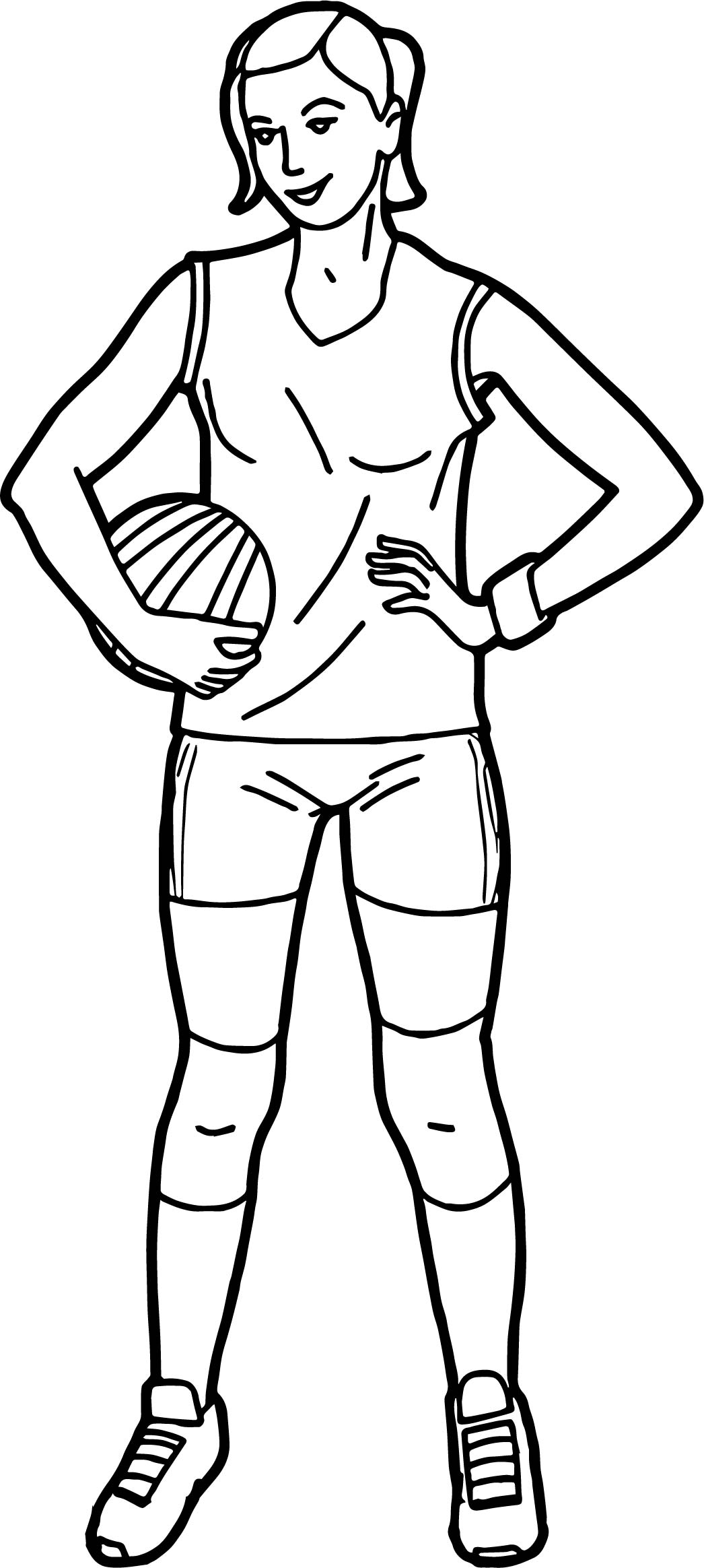 Player Holding Volleyball Girl Coloring Page